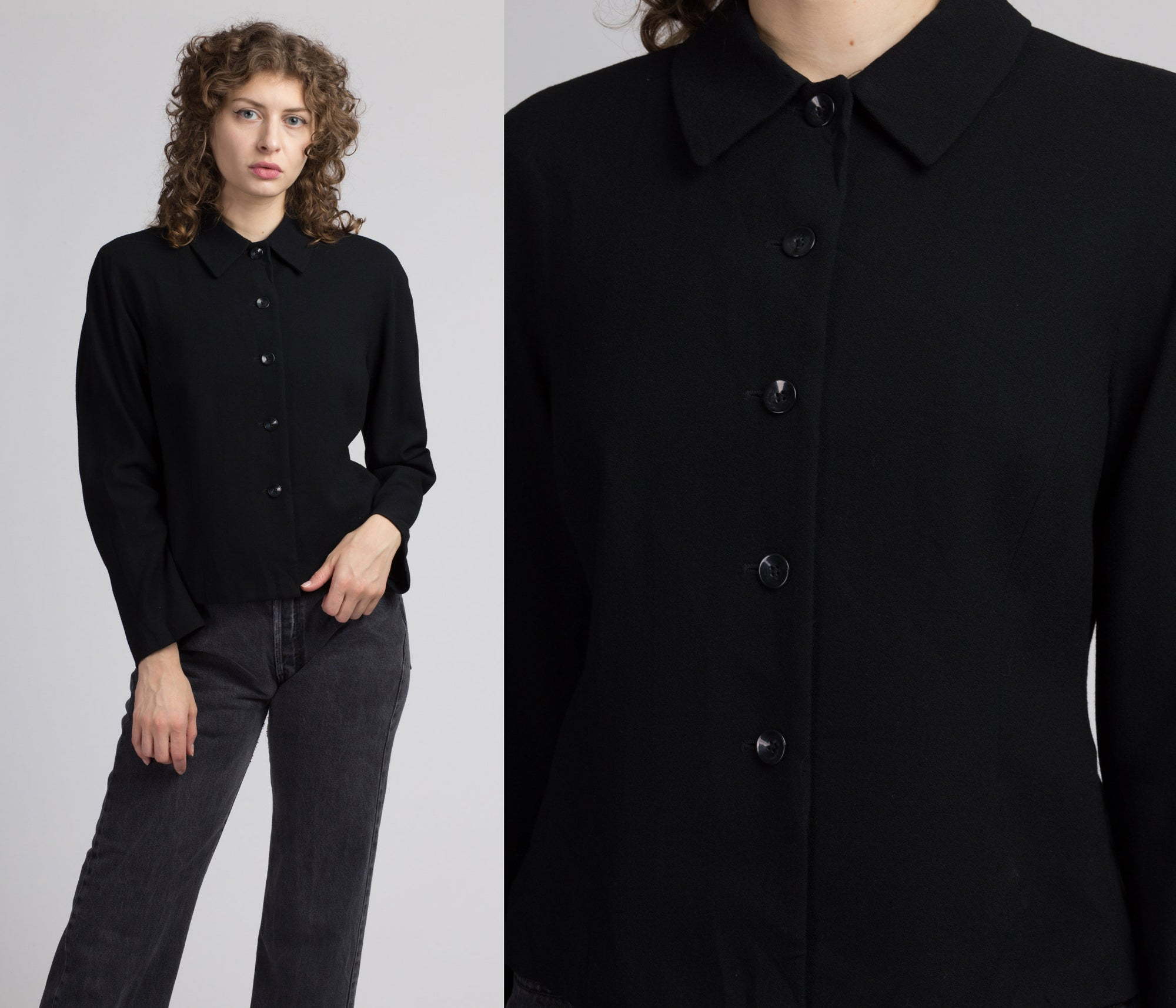 80s 90s Black Wool Button Up Top - Medium