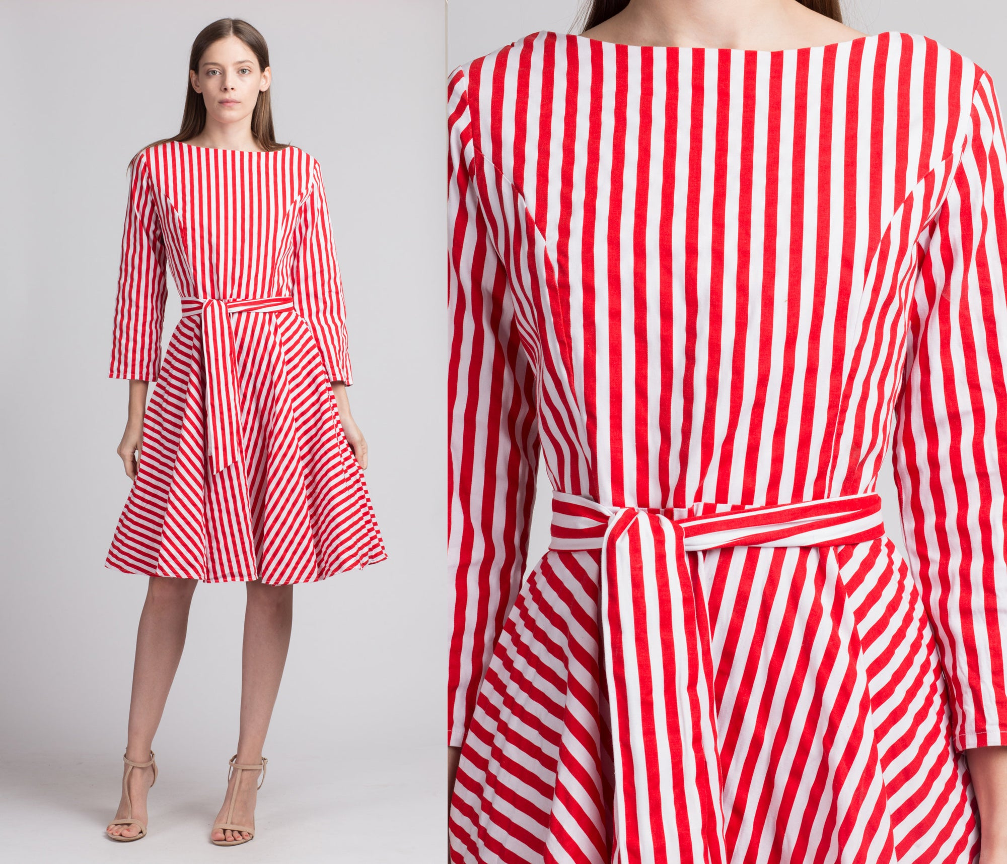 Vintage Red Candy Stripe Dress - Medium