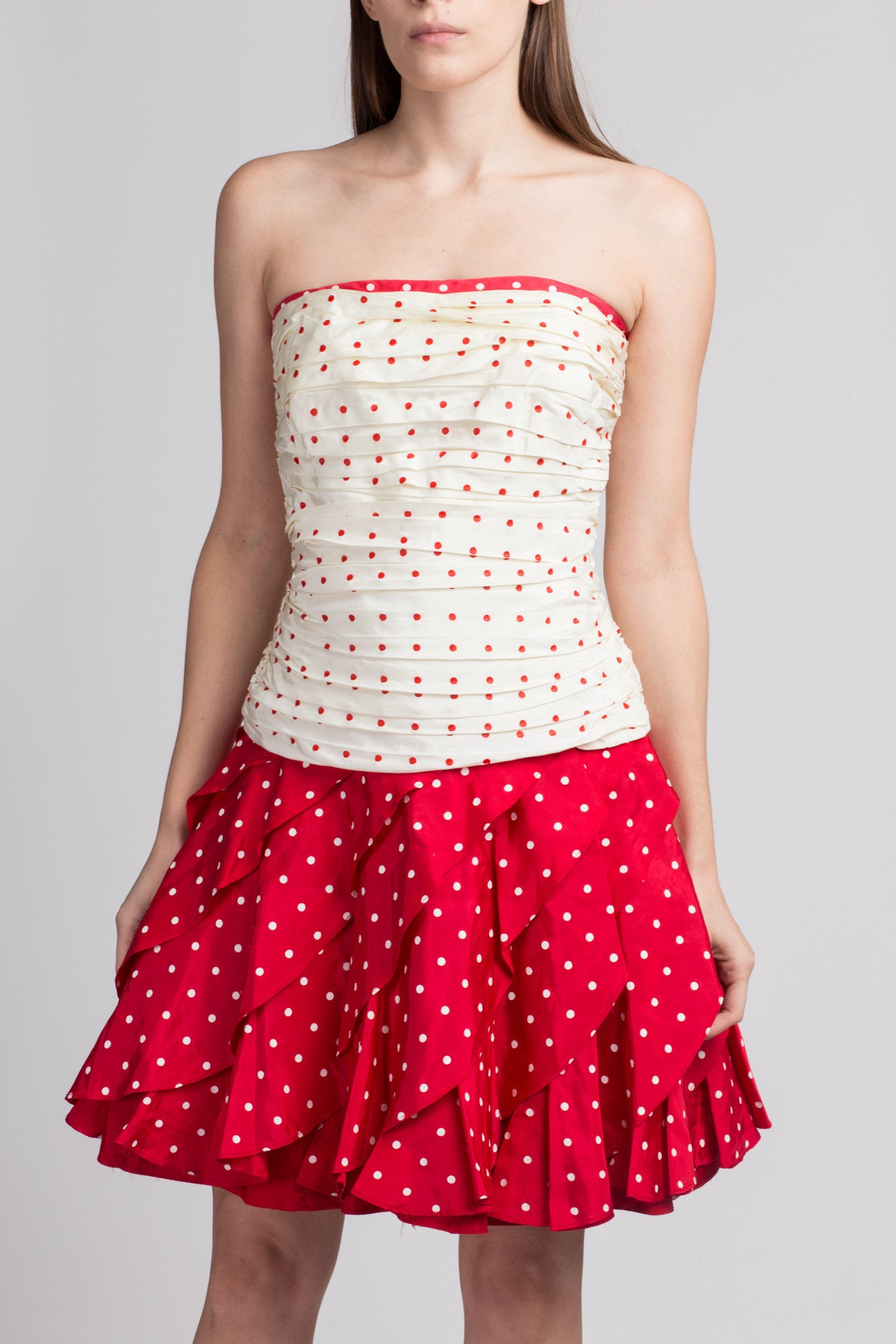 80s Tadashi Polka Dot Party Dress - XS to Small