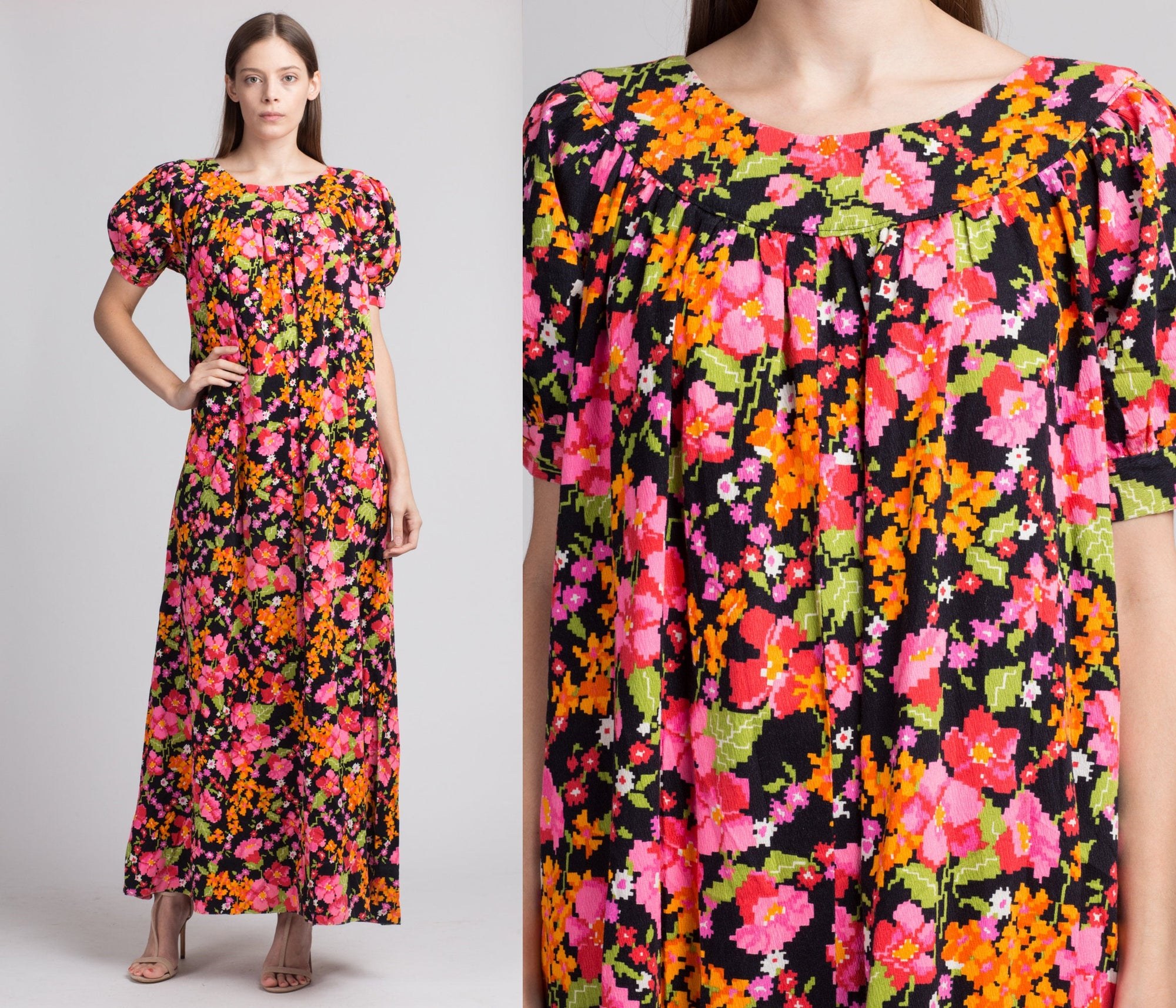 70s Hawaiian Floral Maxi Dress - Medium