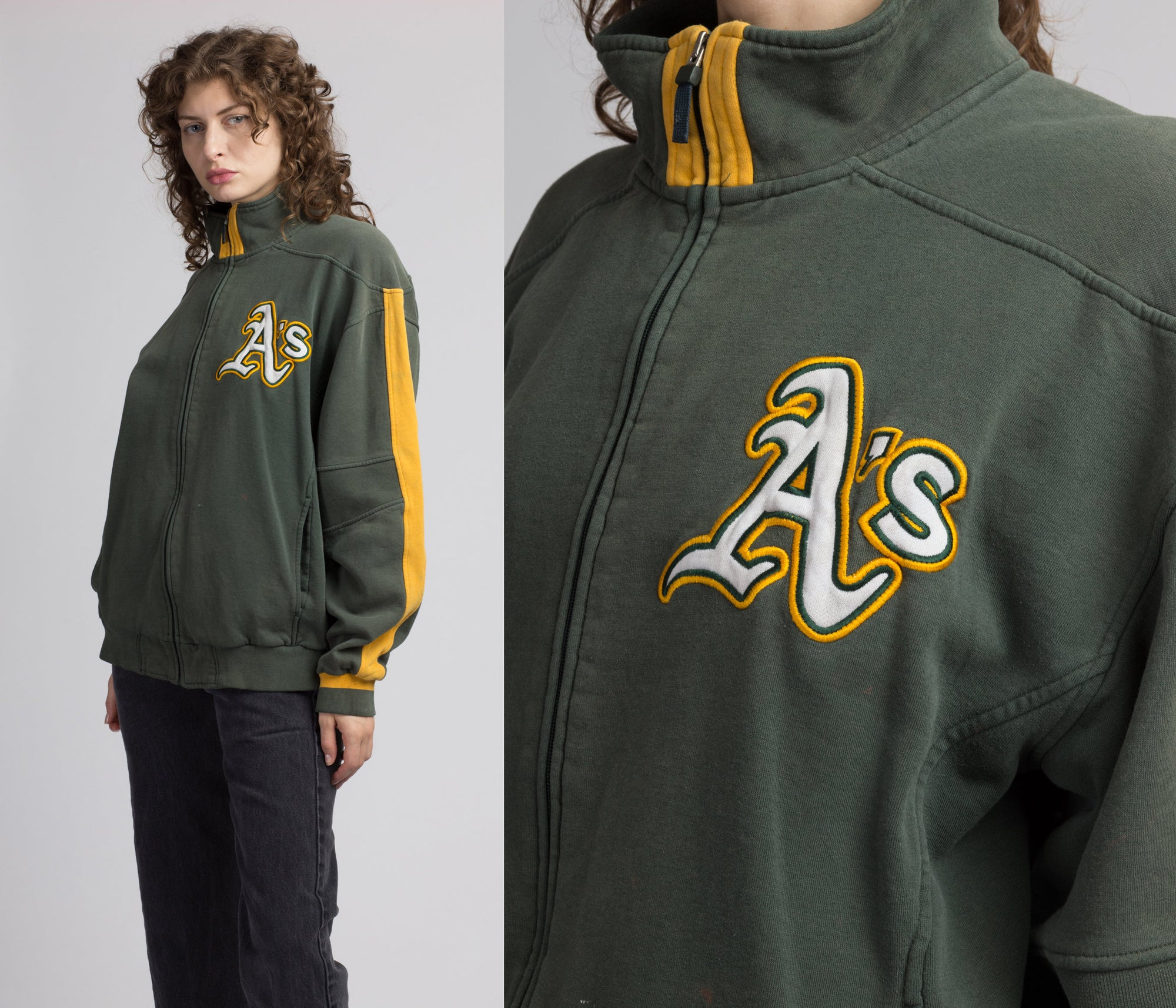 90s Oakland A's Zip Up Track Jacket - Men's Large