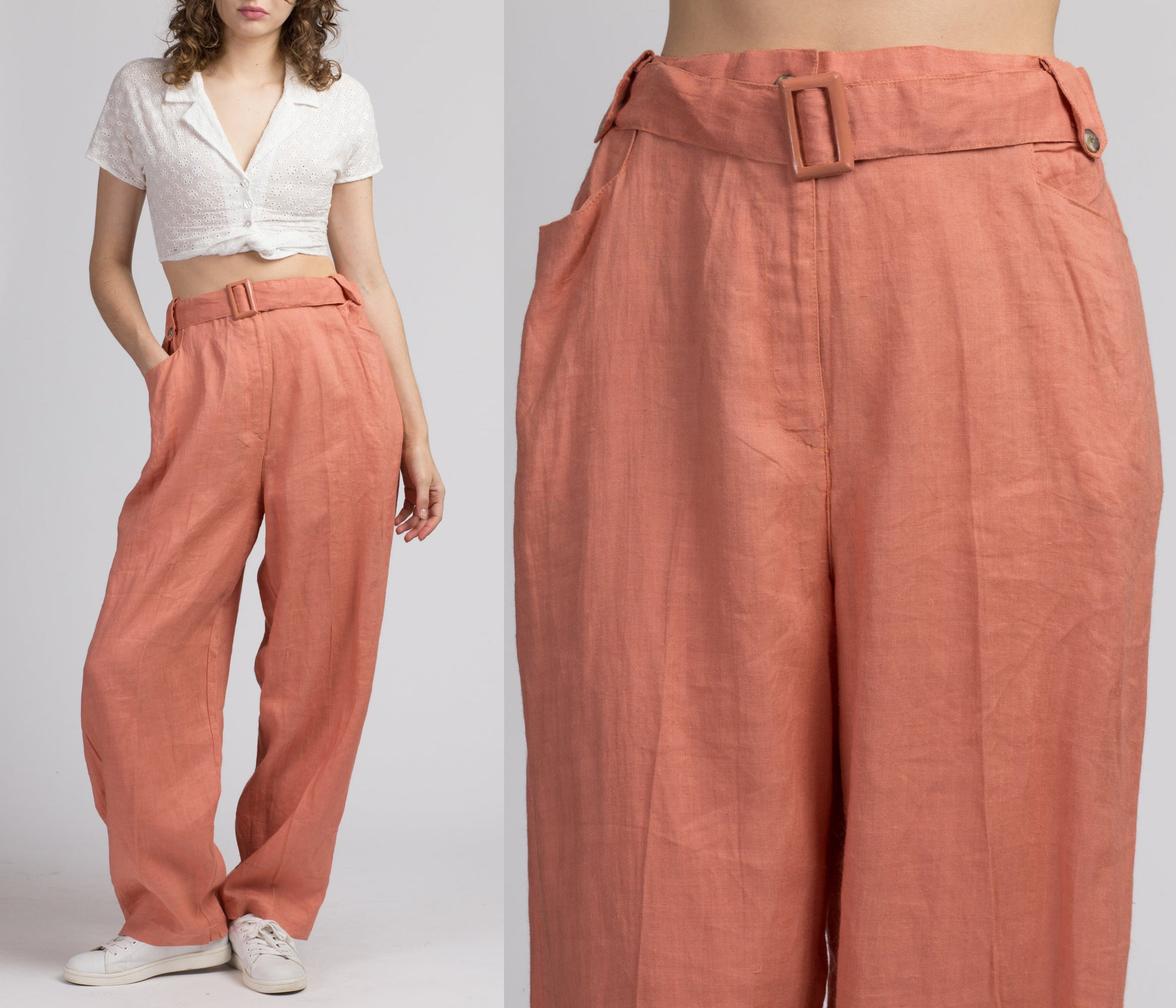 90s Coral Belted Ramie Pants - Large