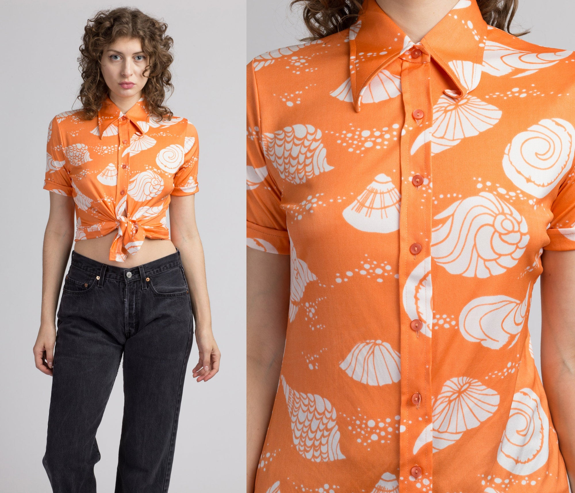 70s Novelty Seashell Print Top - Medium
