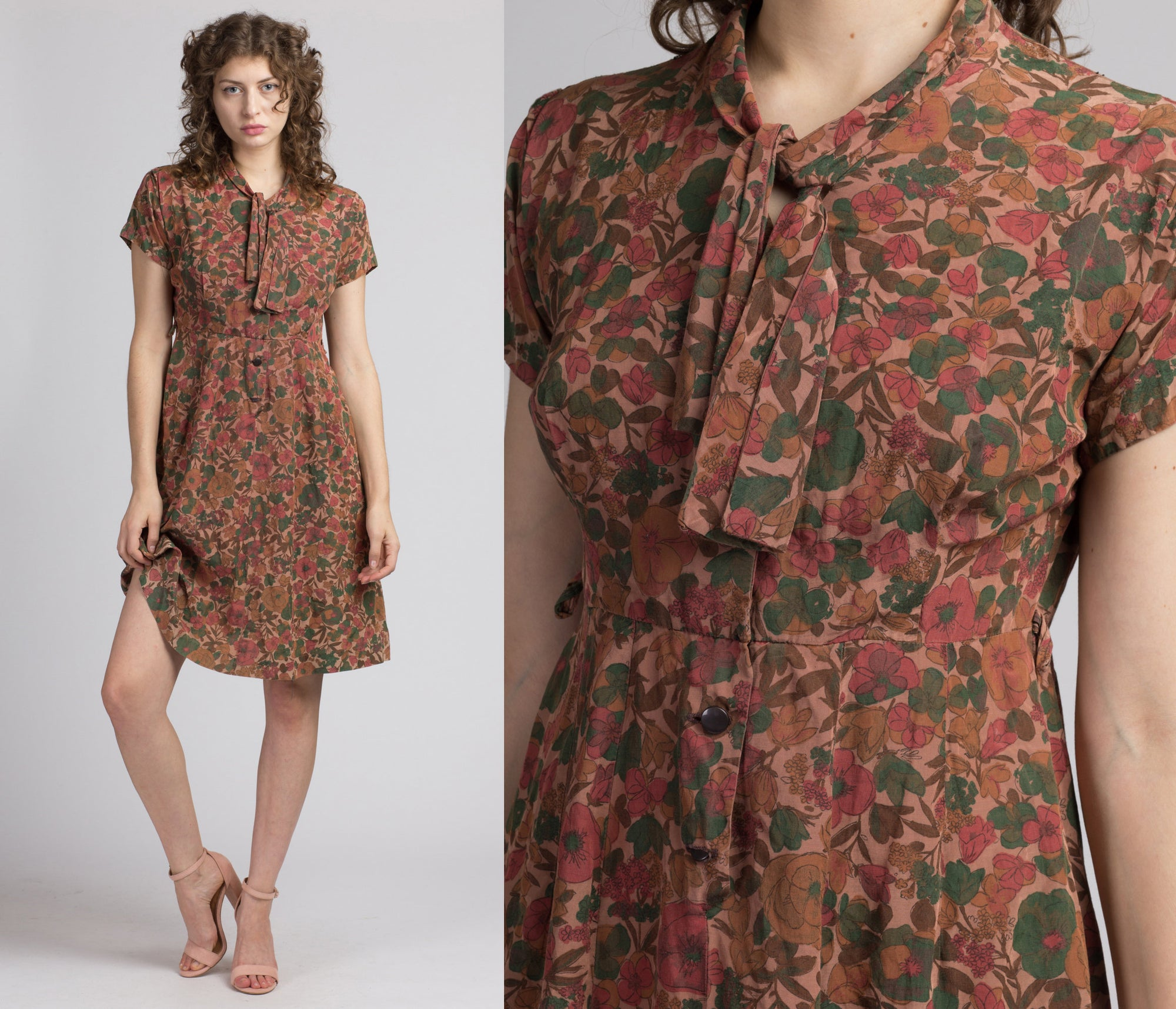1950s Fall Floral Day Dress - Medium