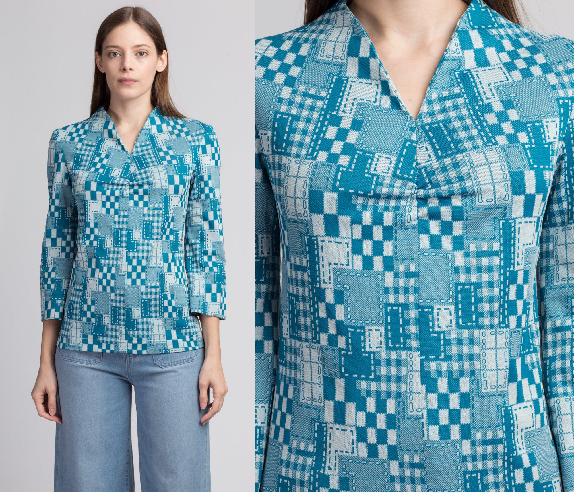 60s 70s Mod Blue Patchwork Top - Small