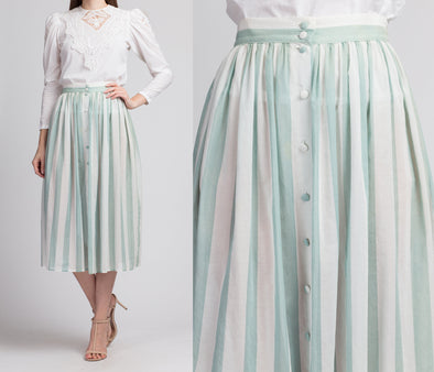 70s Laura Ashley Green & White Sheer Striped Skirt - Small, 26""
