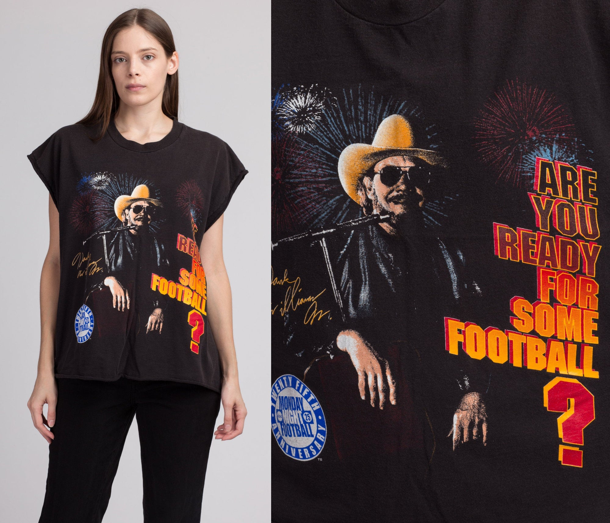 90s Monday Night Football Hank Williams Muscle Tee - Extra Large