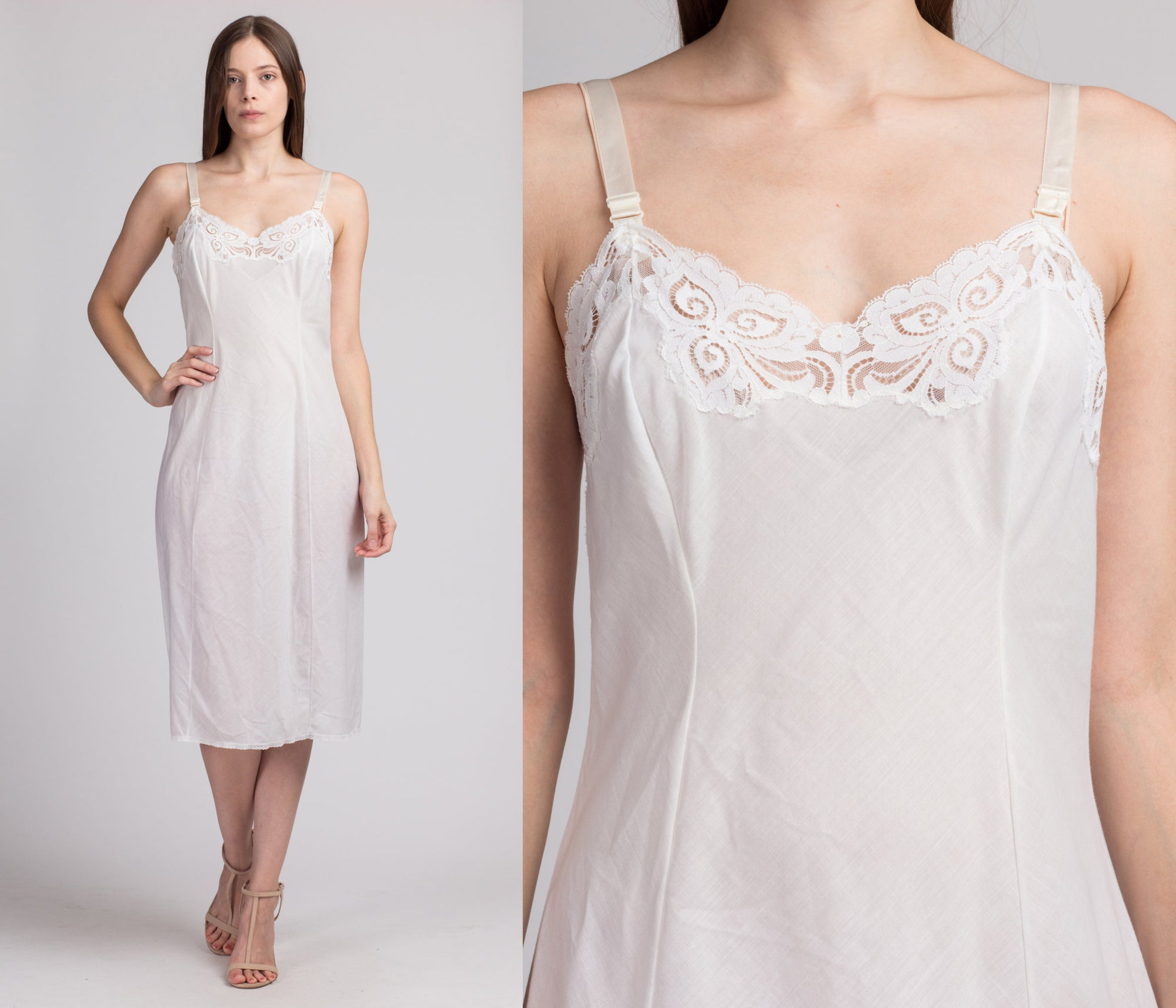 60s Wonder Maid White Midi Slip - Small