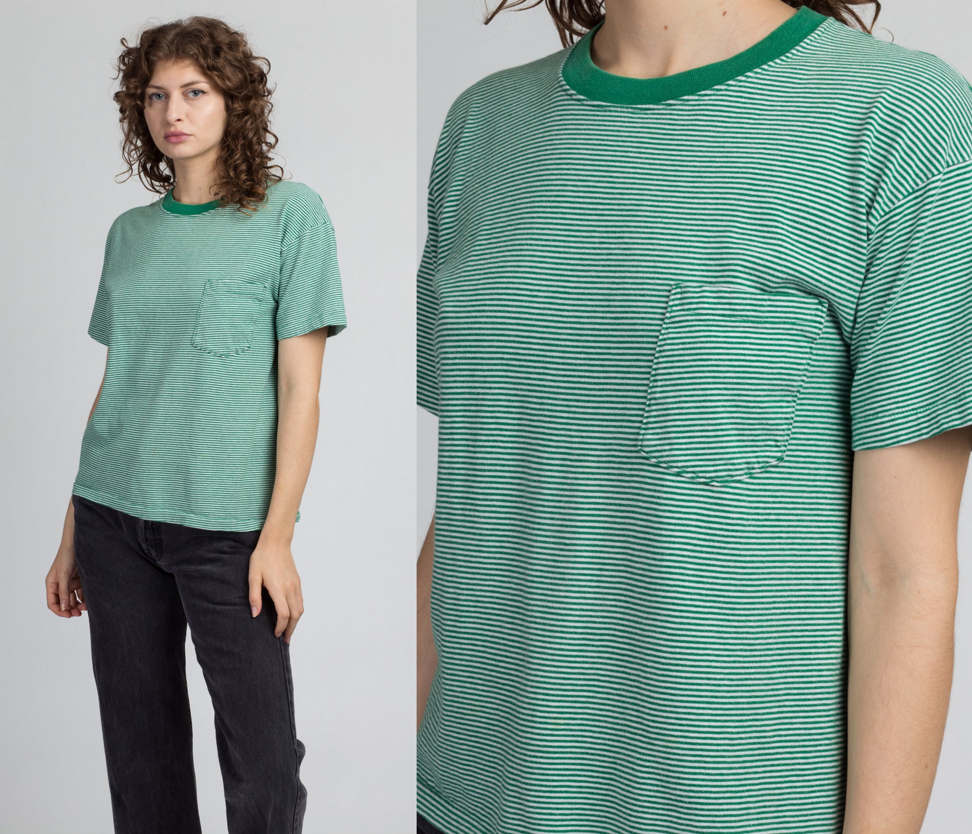 80s Green & White Striped Gap Pocket Tee - Small