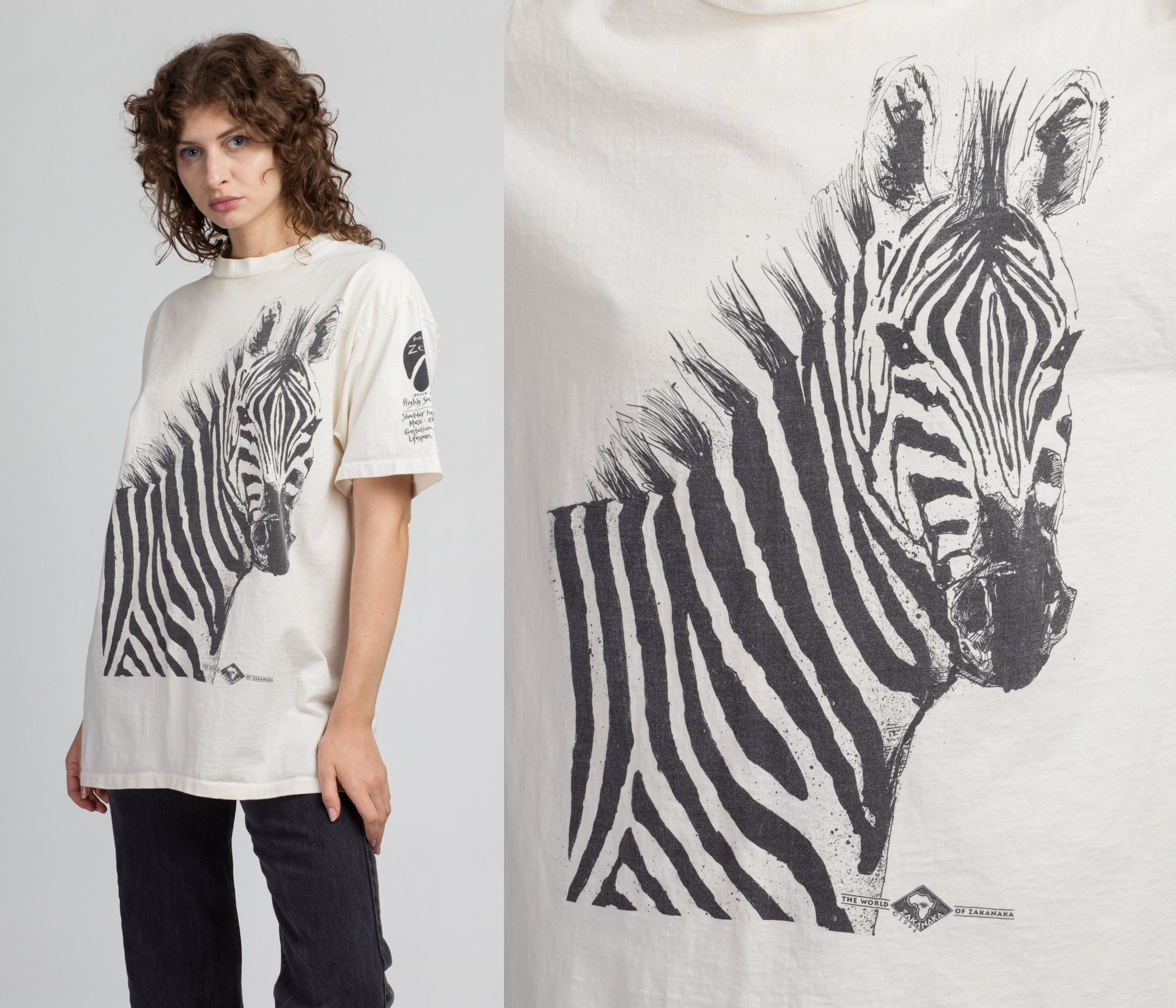 90s Burchell's Zebra Graphic T Shirt - Men's Medium