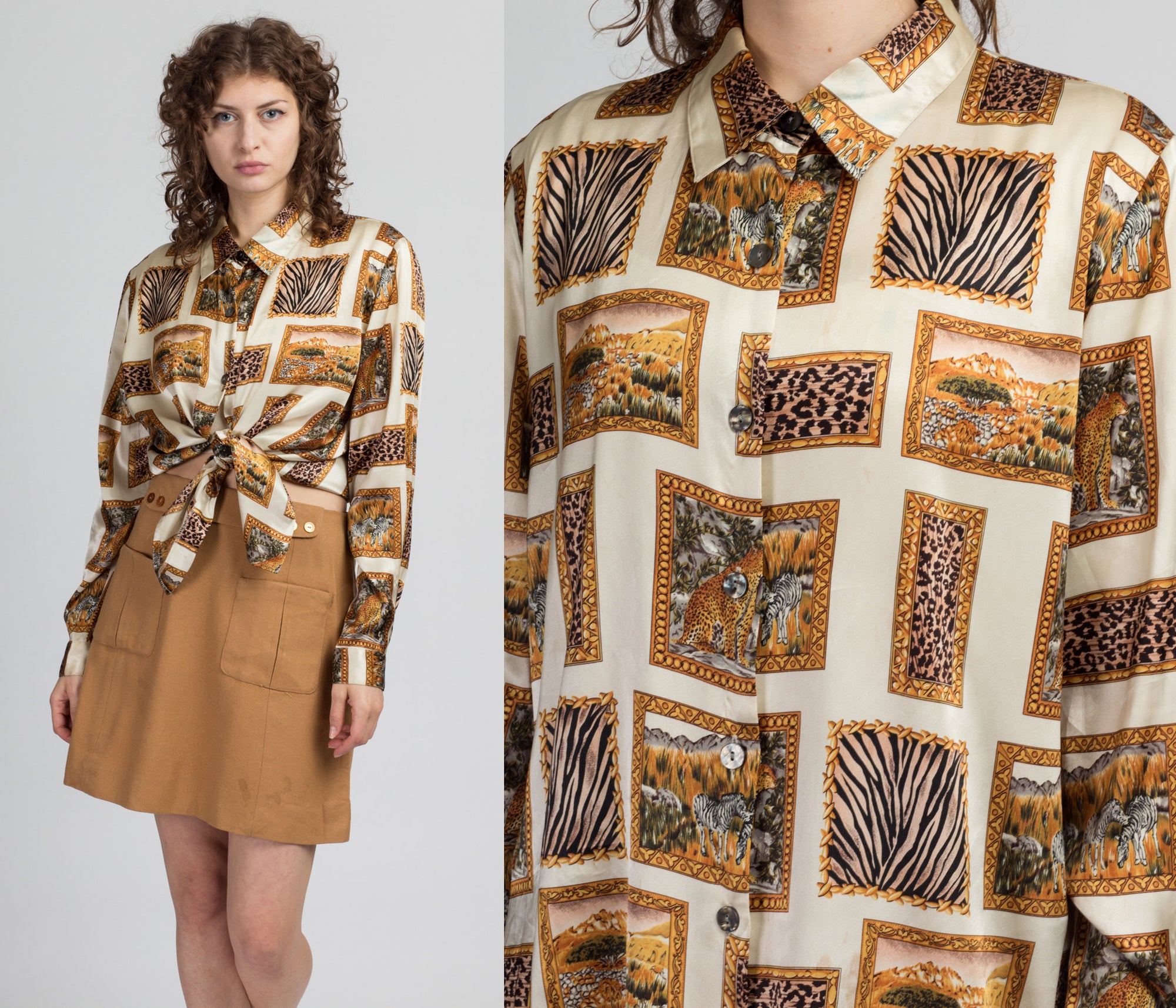 90s Jungle Animal Button Up Shirt - Extra Large