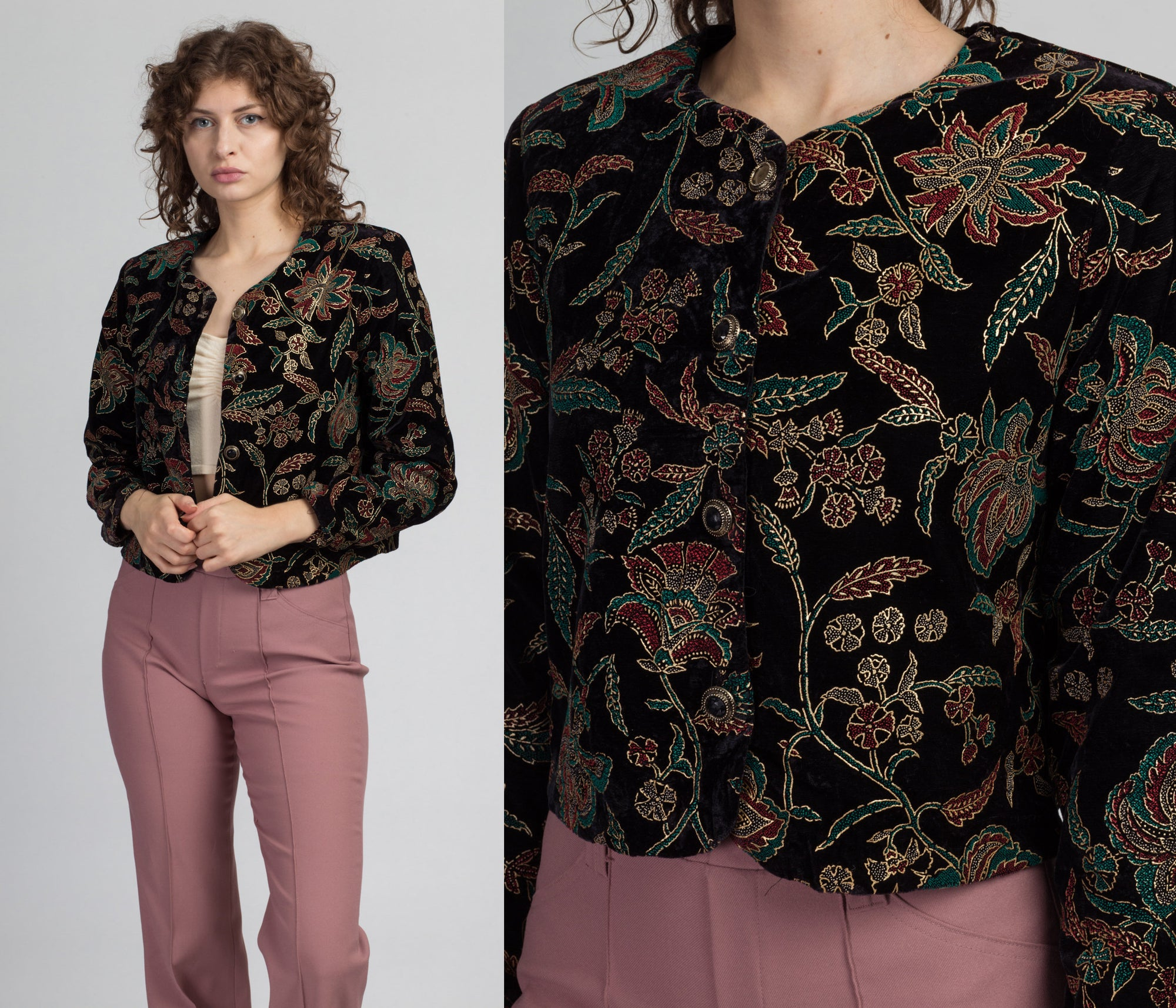 80s Painted Floral Velvet Brocade Jacket - Medium