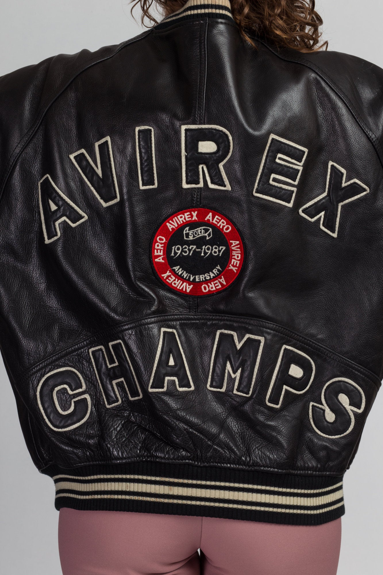 Vintage Avirex Champs 50th Anniversary Leather Bomber Jacket - Men's Large