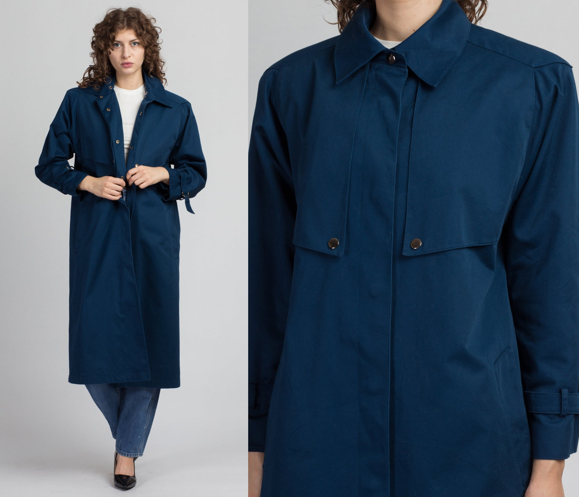 Vintage Evan Picone Long Trench Coat - Small to Petite Medium
