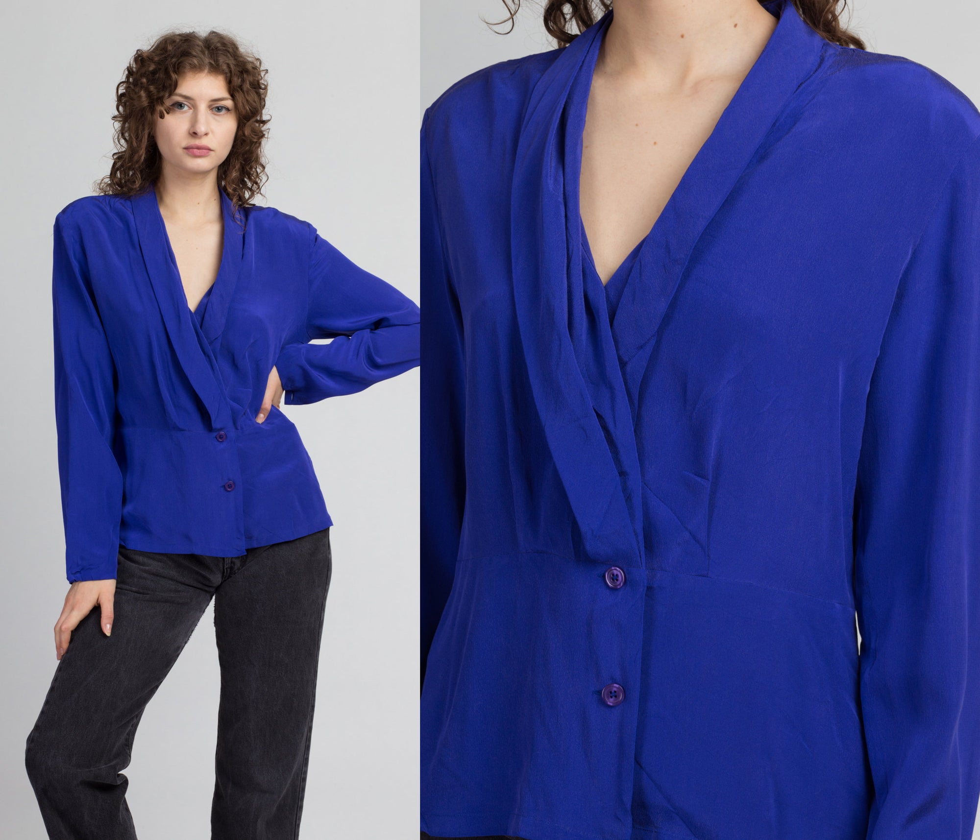 Vintage Nordstrom Royal Blue Silk Blouse - Medium