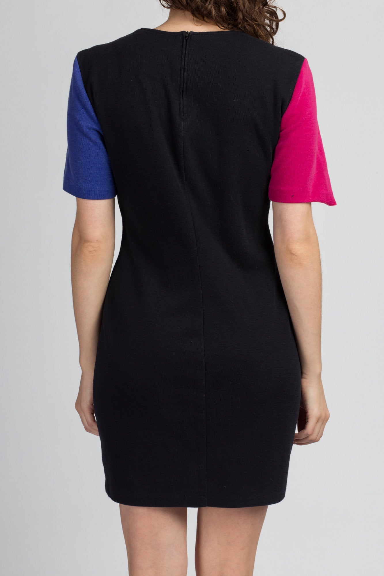 90s Color Block Bodycon Dress - Large