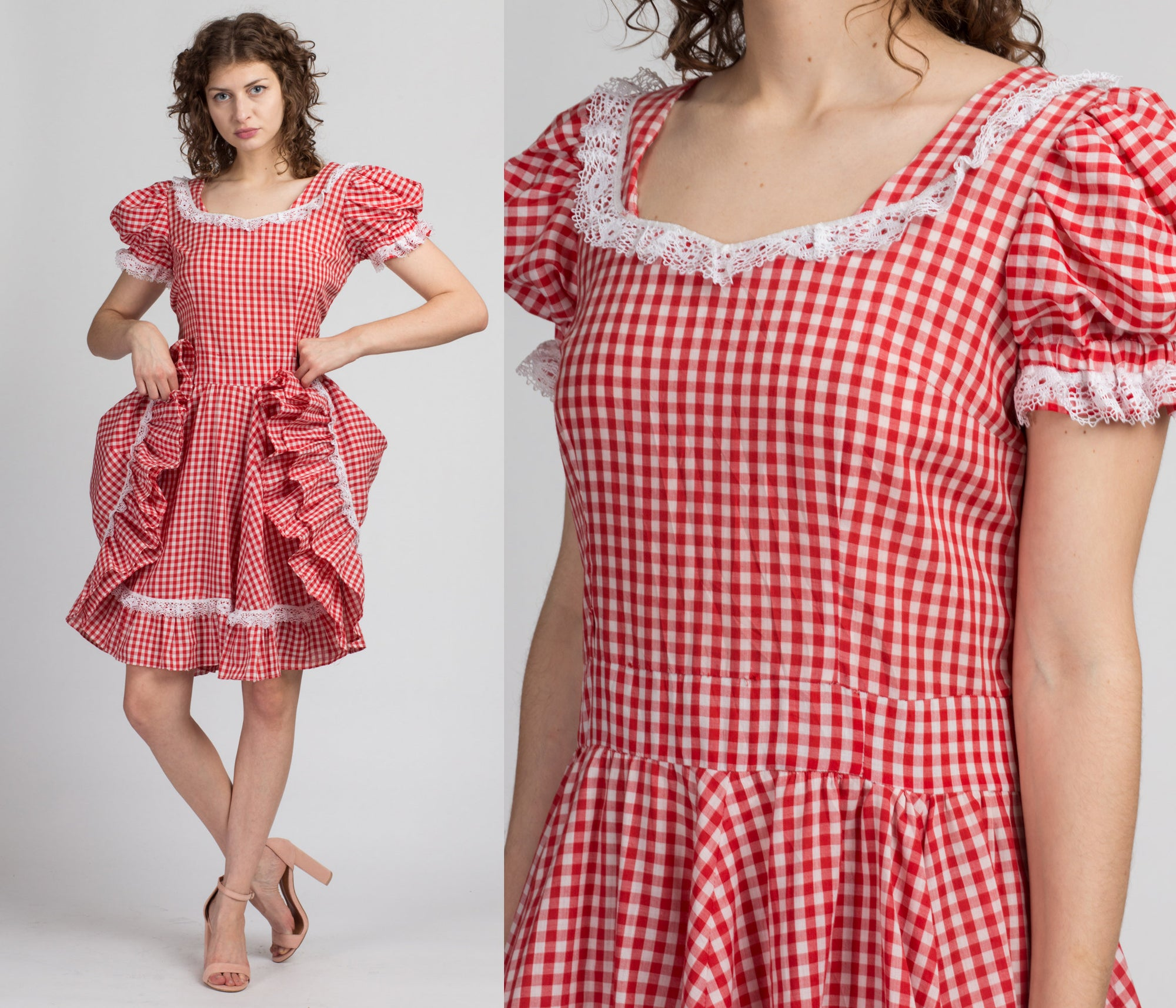 Vintage Gingham Puff Sleeve Rockabilly Dress - Large