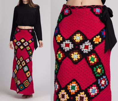 70s Pink Crochet Granny Square Maxi Skirt - XS to Small