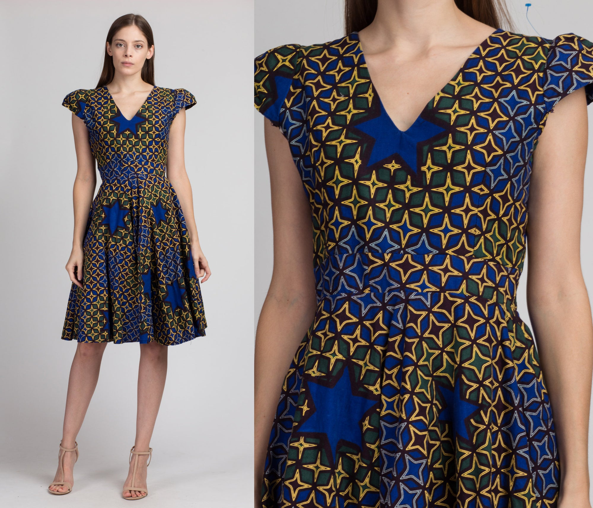 Vintage African Ankara Wax Print Dress - Large