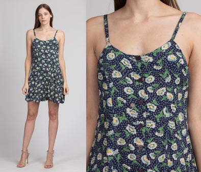90s Grunge Daisy Print Mini Sundress - Small