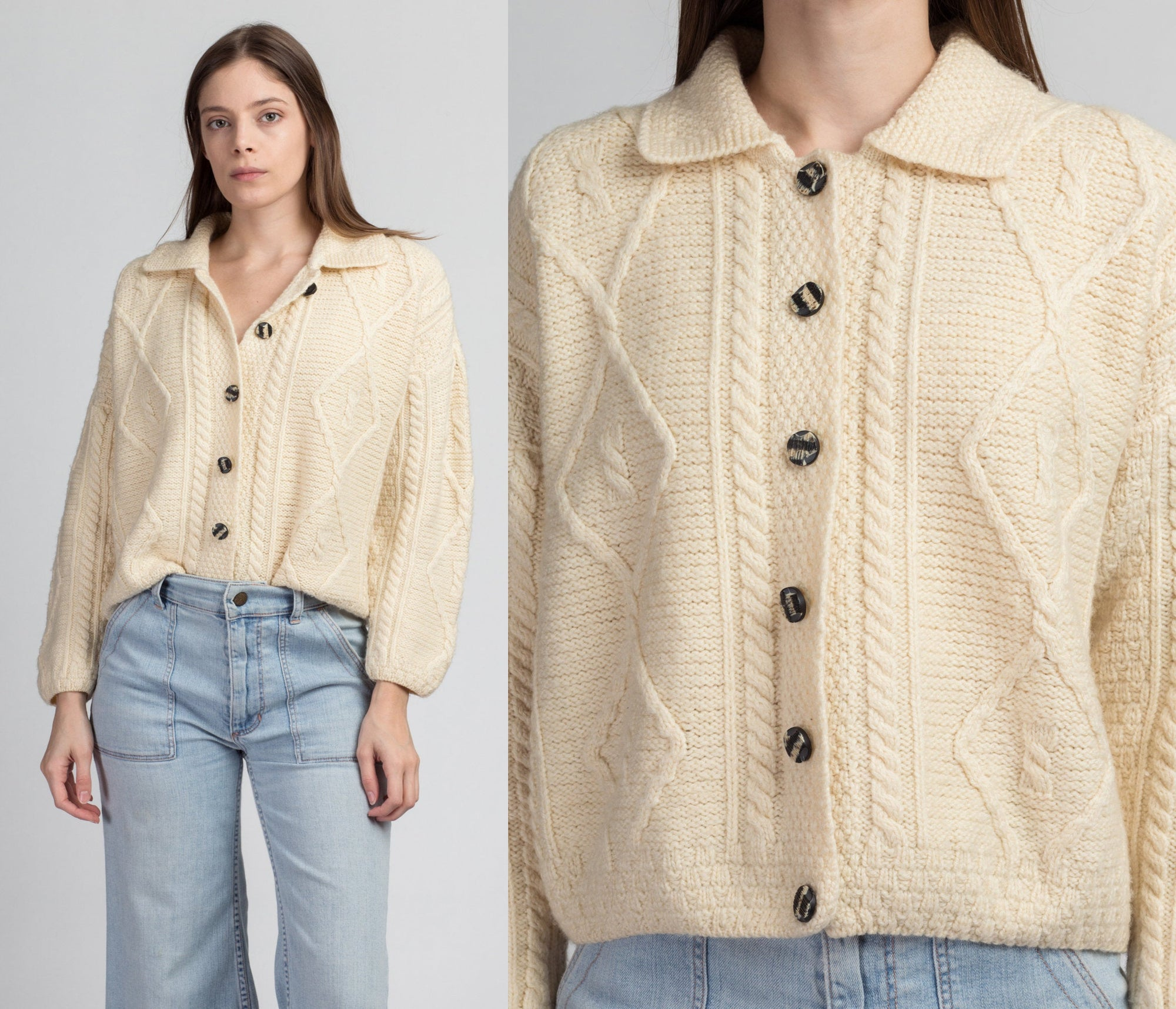 70s Irish Merino Wool Cable Knit Cardigan - Medium