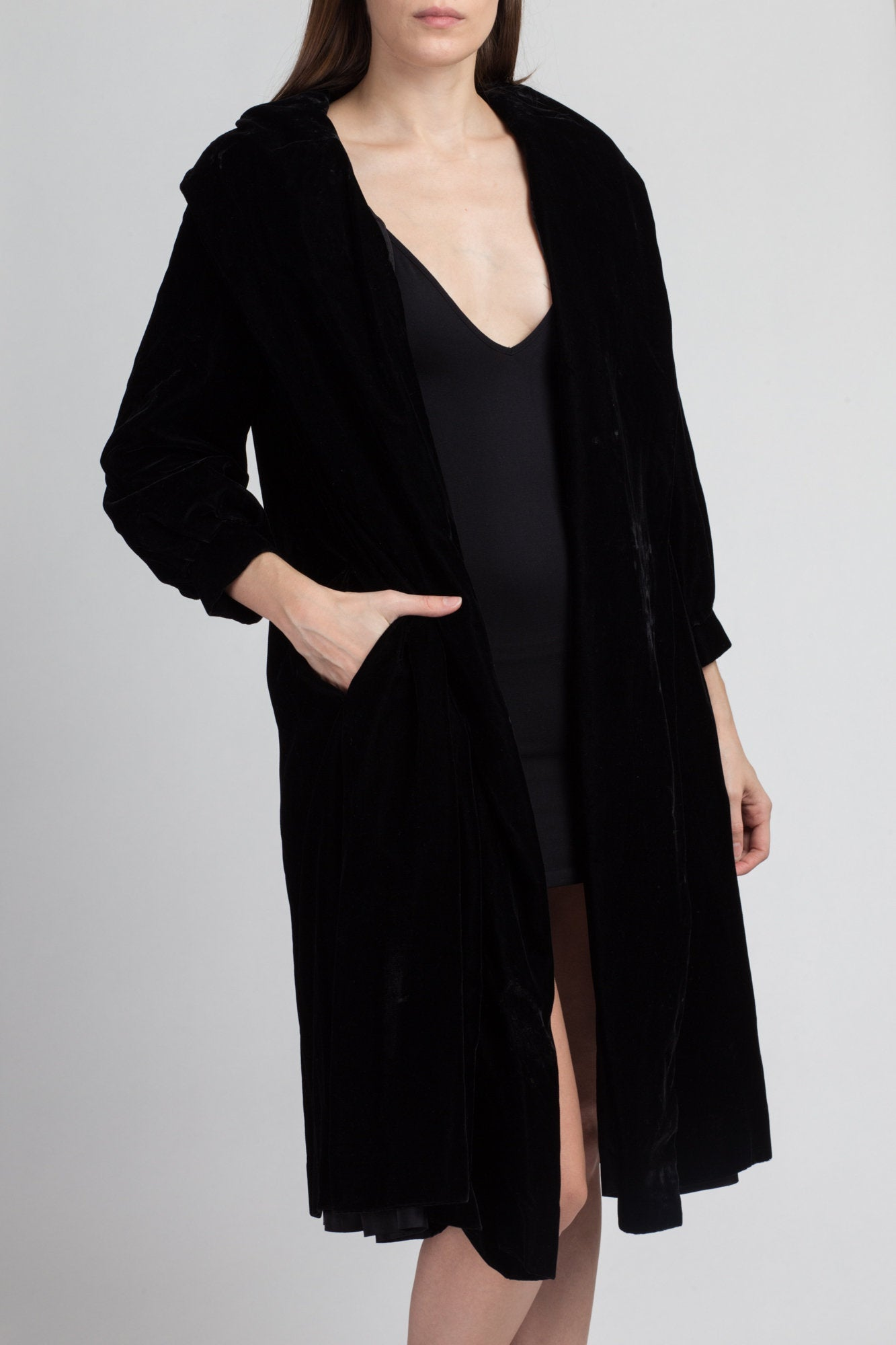 Vintage Claralura Black Velvet Coat - Small
