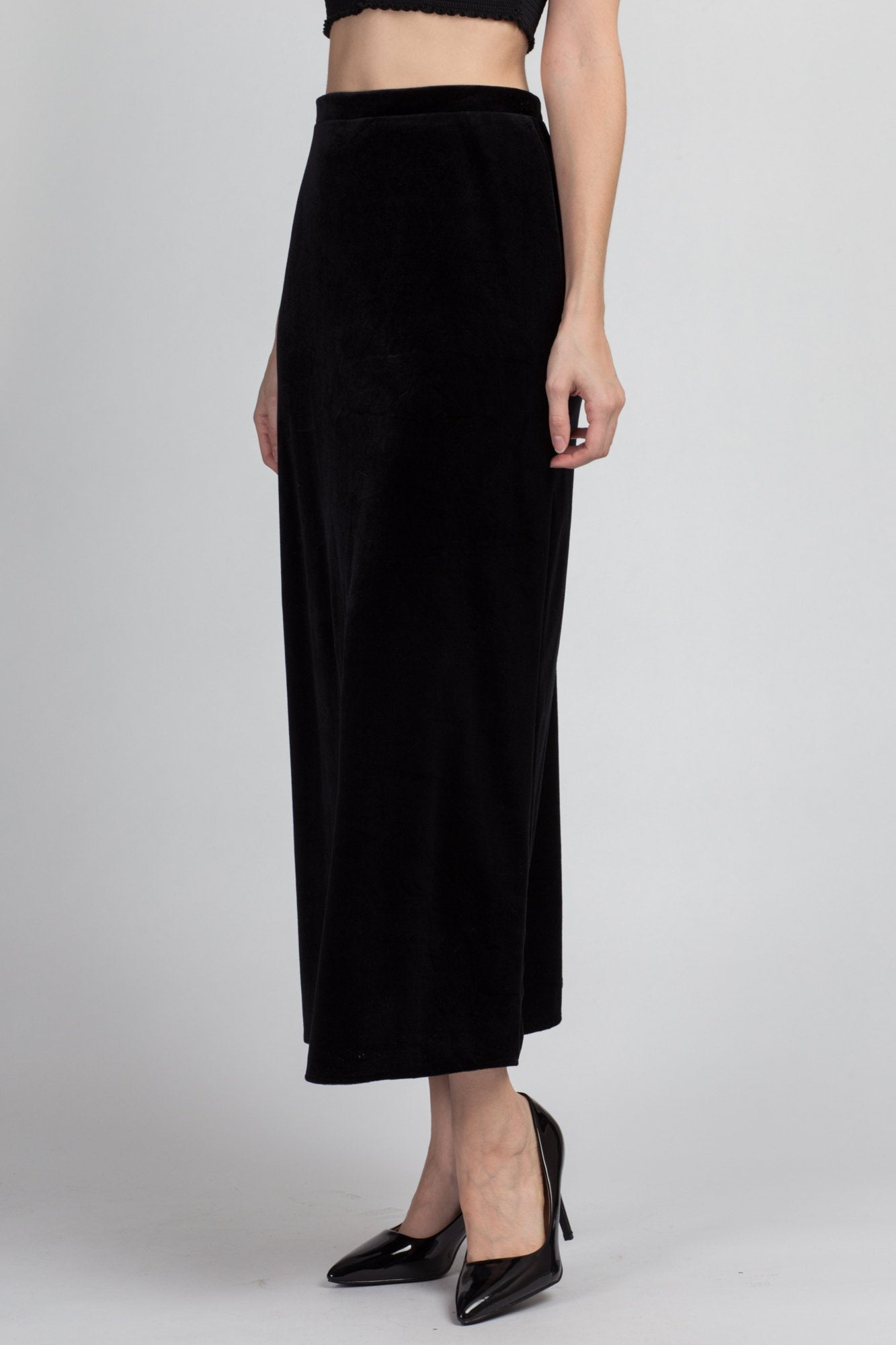 90s Black Velvet Maxi Skirt - Small
