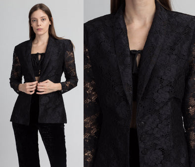 80s Black Lace Blazer Top - Medium