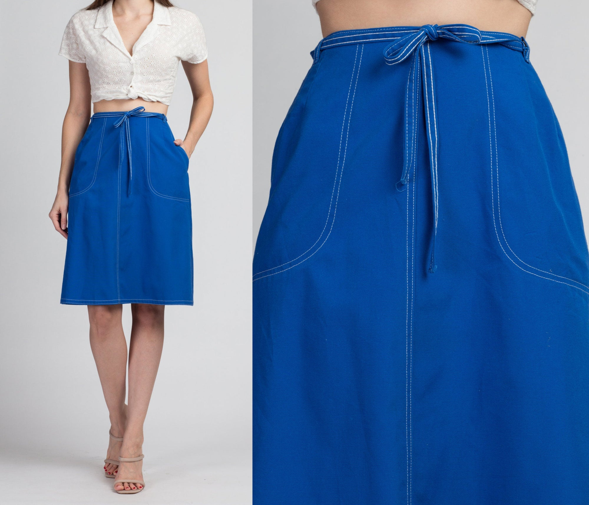 70s Blue Pocket Wrap Skirt - Medium
