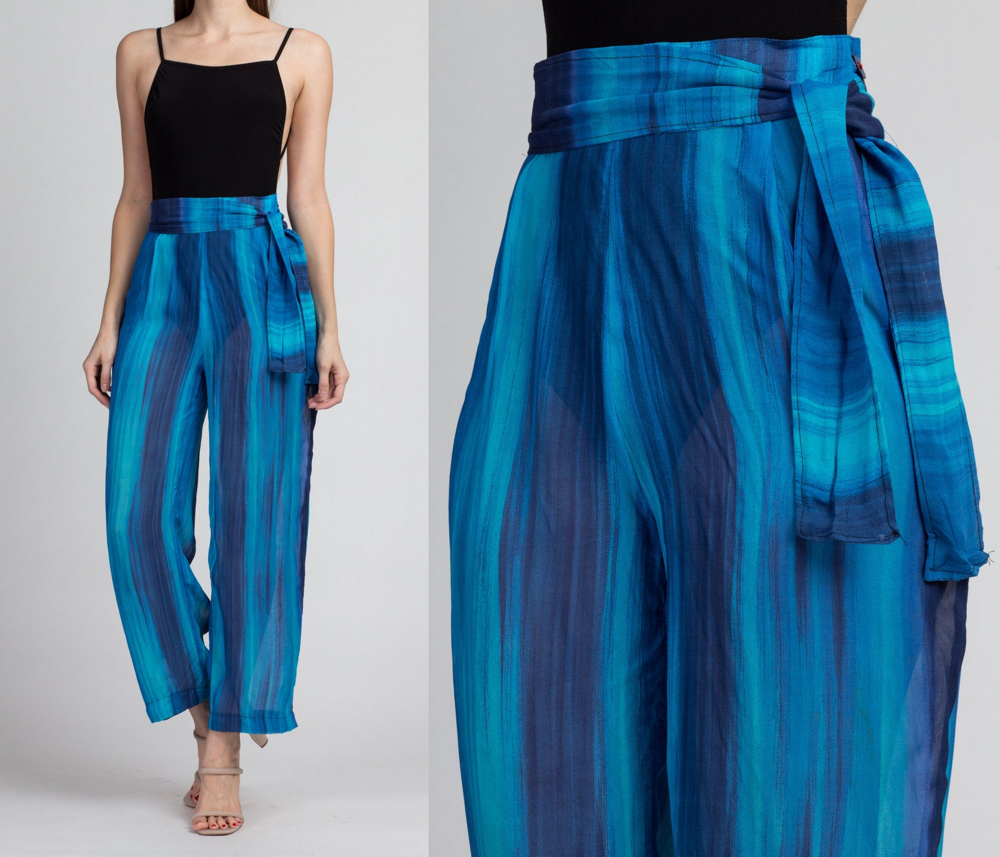 Vintage Sheer Blue Striped Pants - Small, 27""