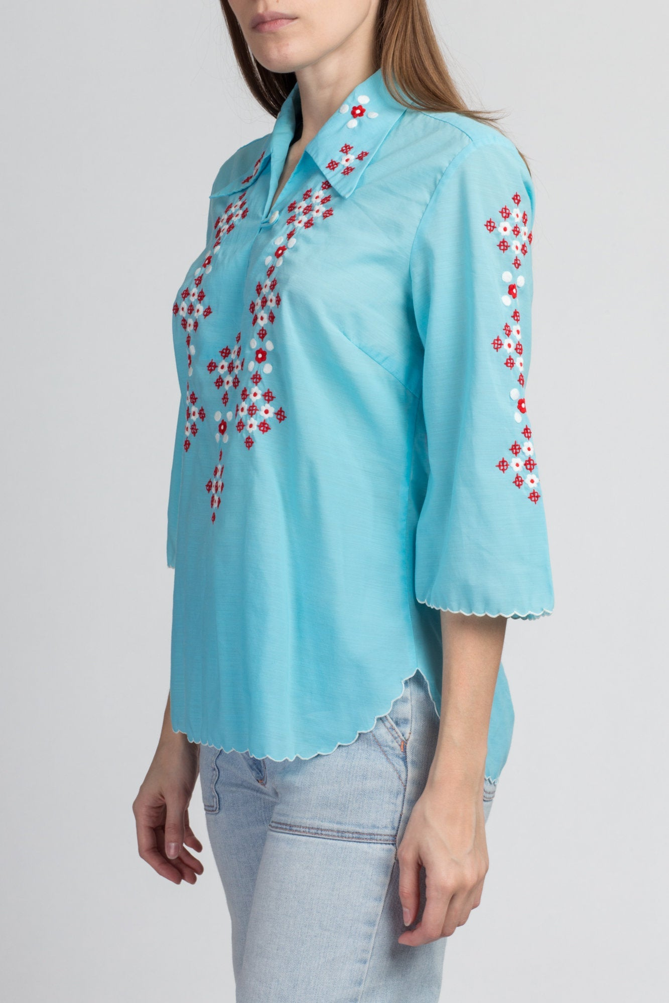 70s Boho Blue Embroidered Blouse - Large