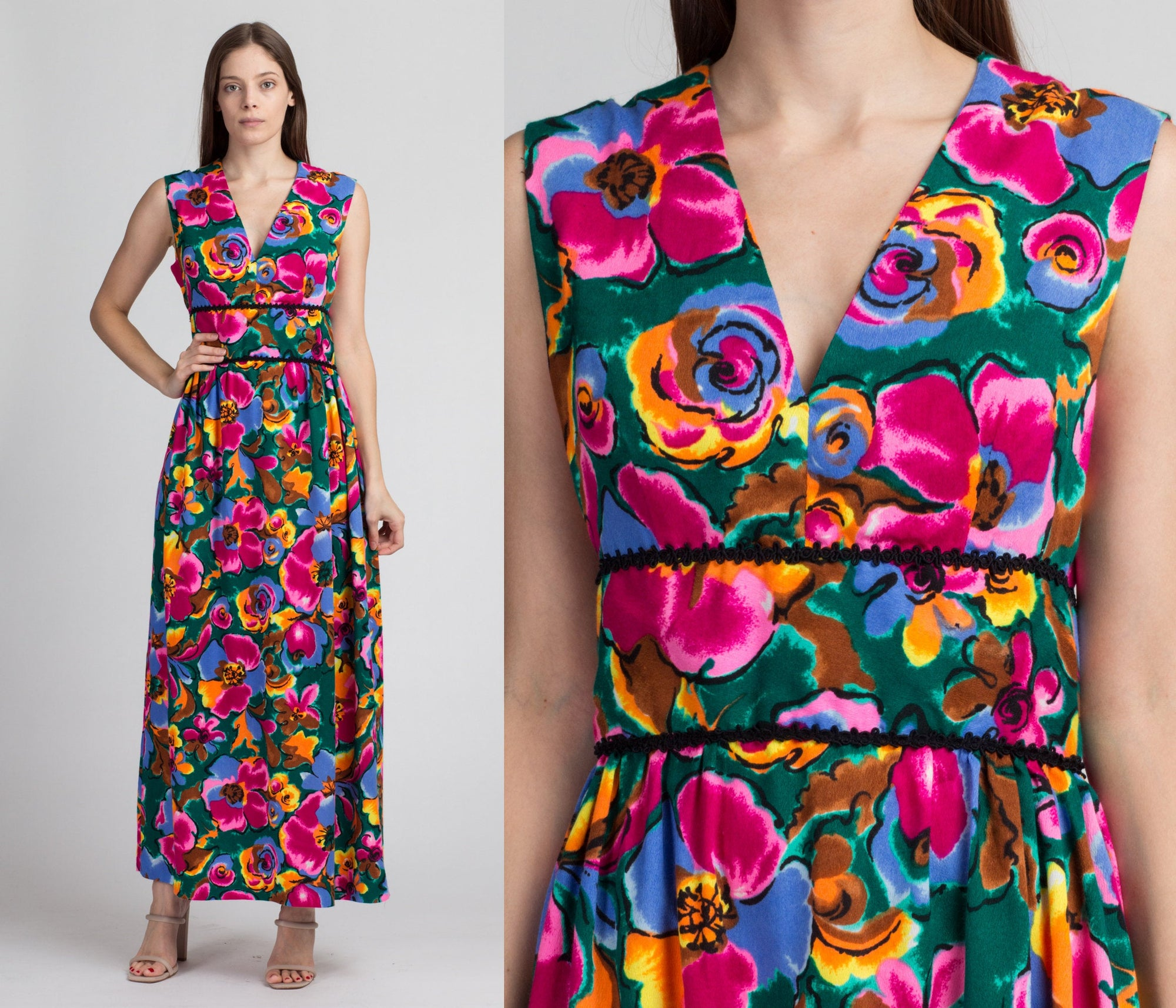 60s 70s Hawaiian Bright Floral Maxi Dress - Medium
