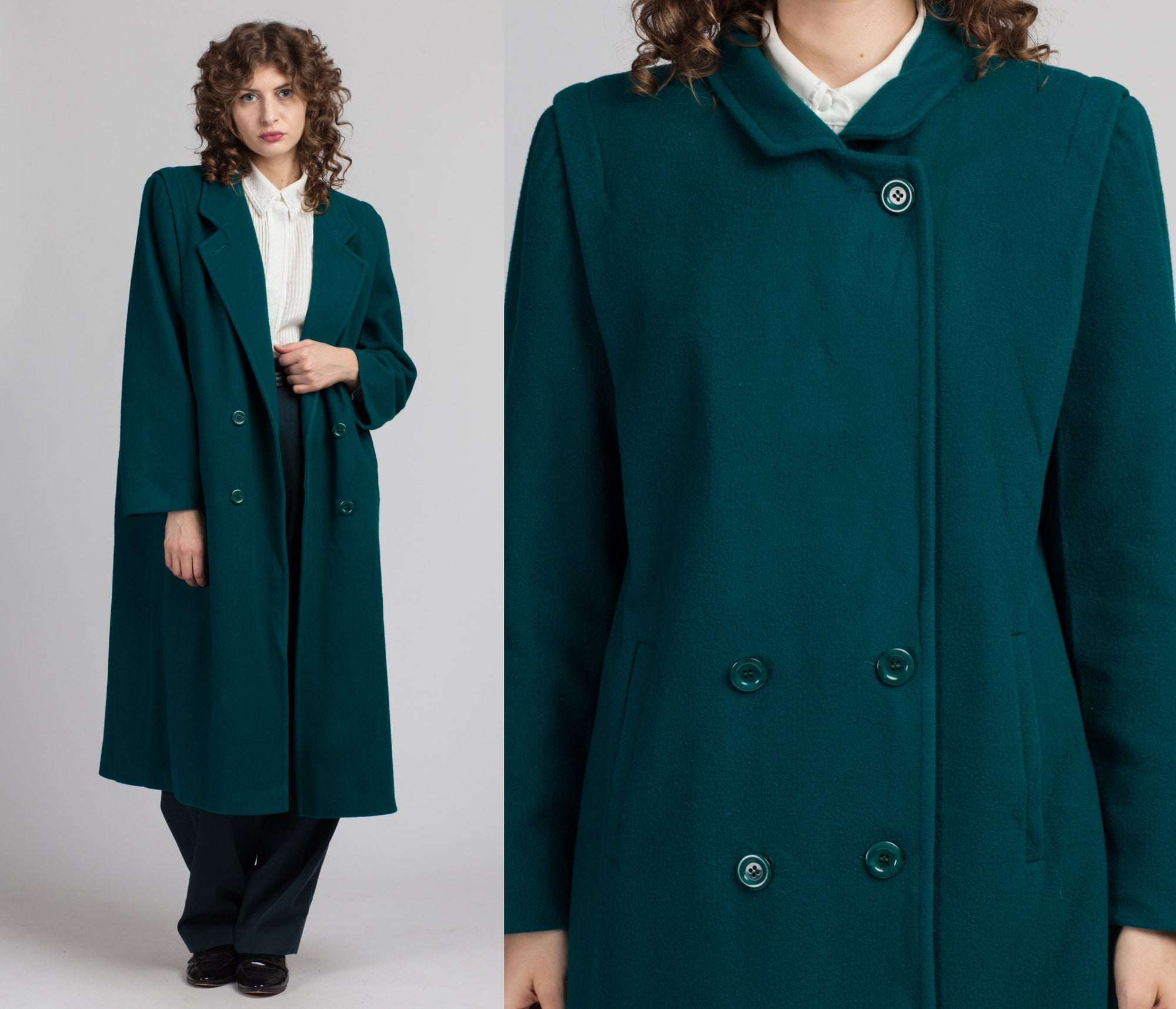 Vintage Emerald Green Wool Overcoat - Large