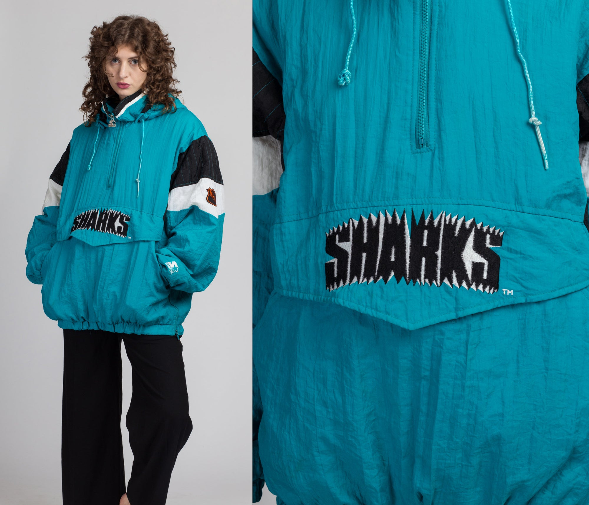 90s San Jose Sharks NHL Pullover Starter Jacket - Men's Large