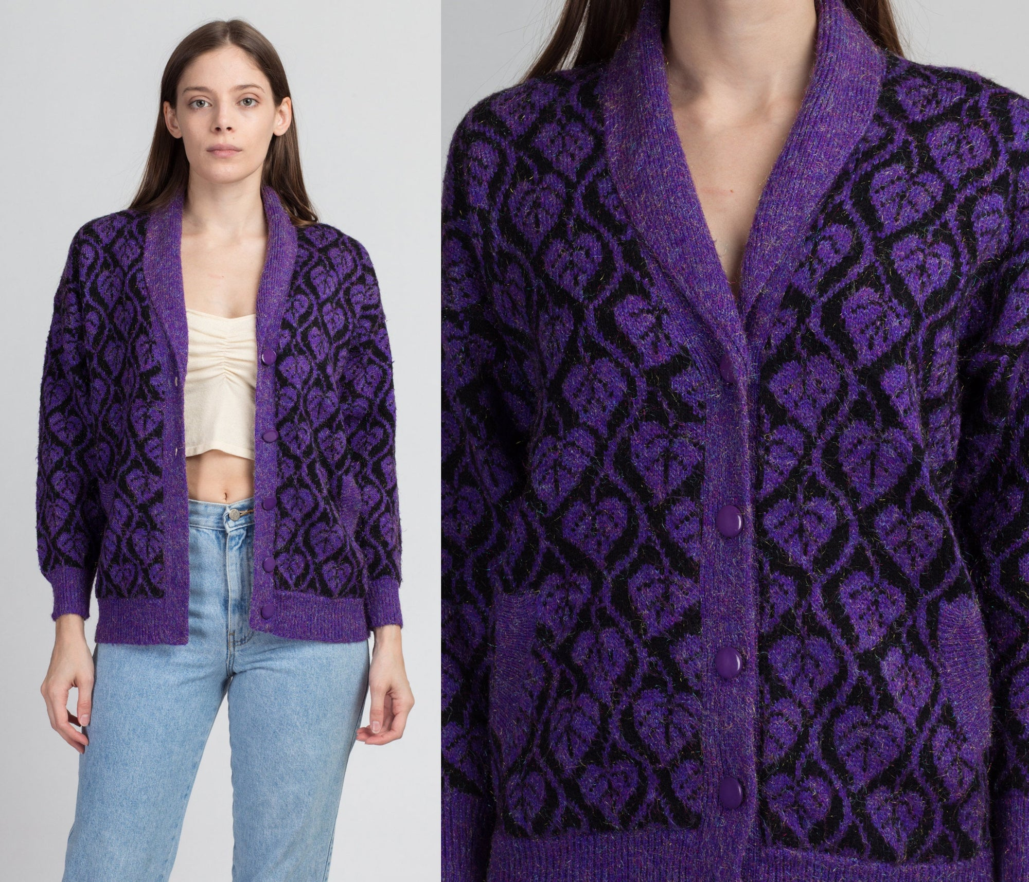 80s Black & Purple Metallic Leaf Pattern Cardigan - Small
