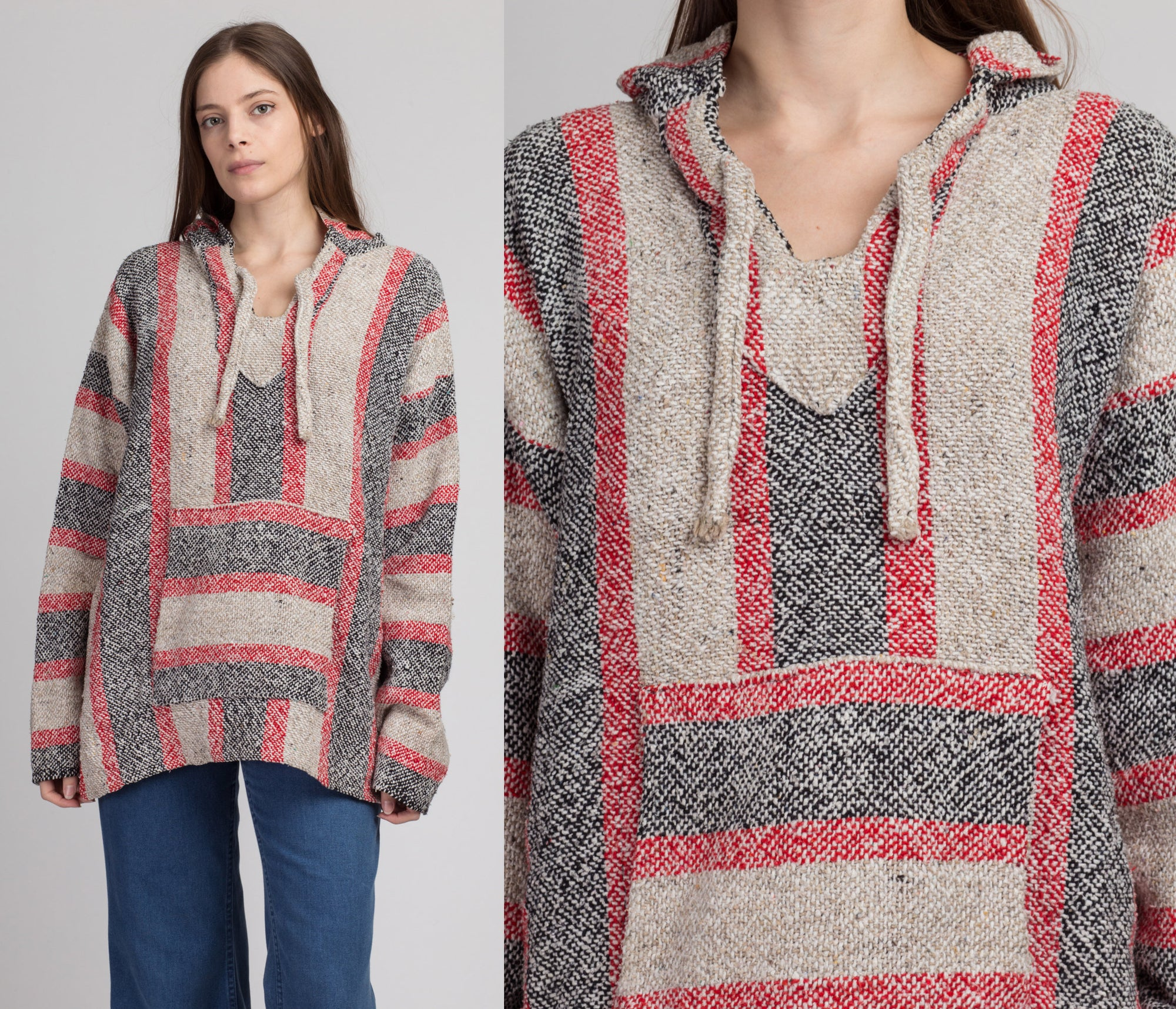 90s Red Striped Drug Rug Hoodie - Extra Large
