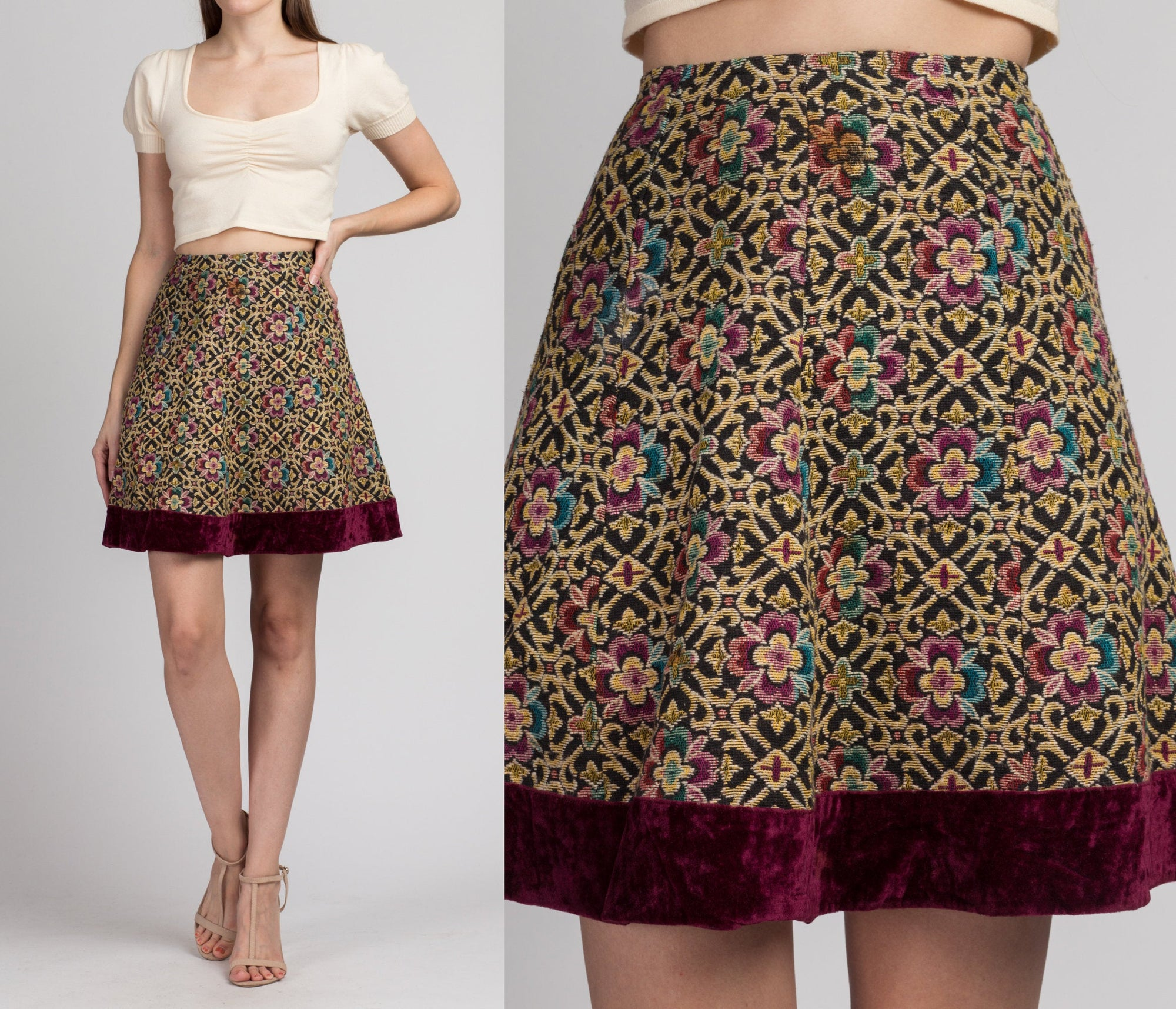 60s Tapestry Mini Skirt - Extra Small