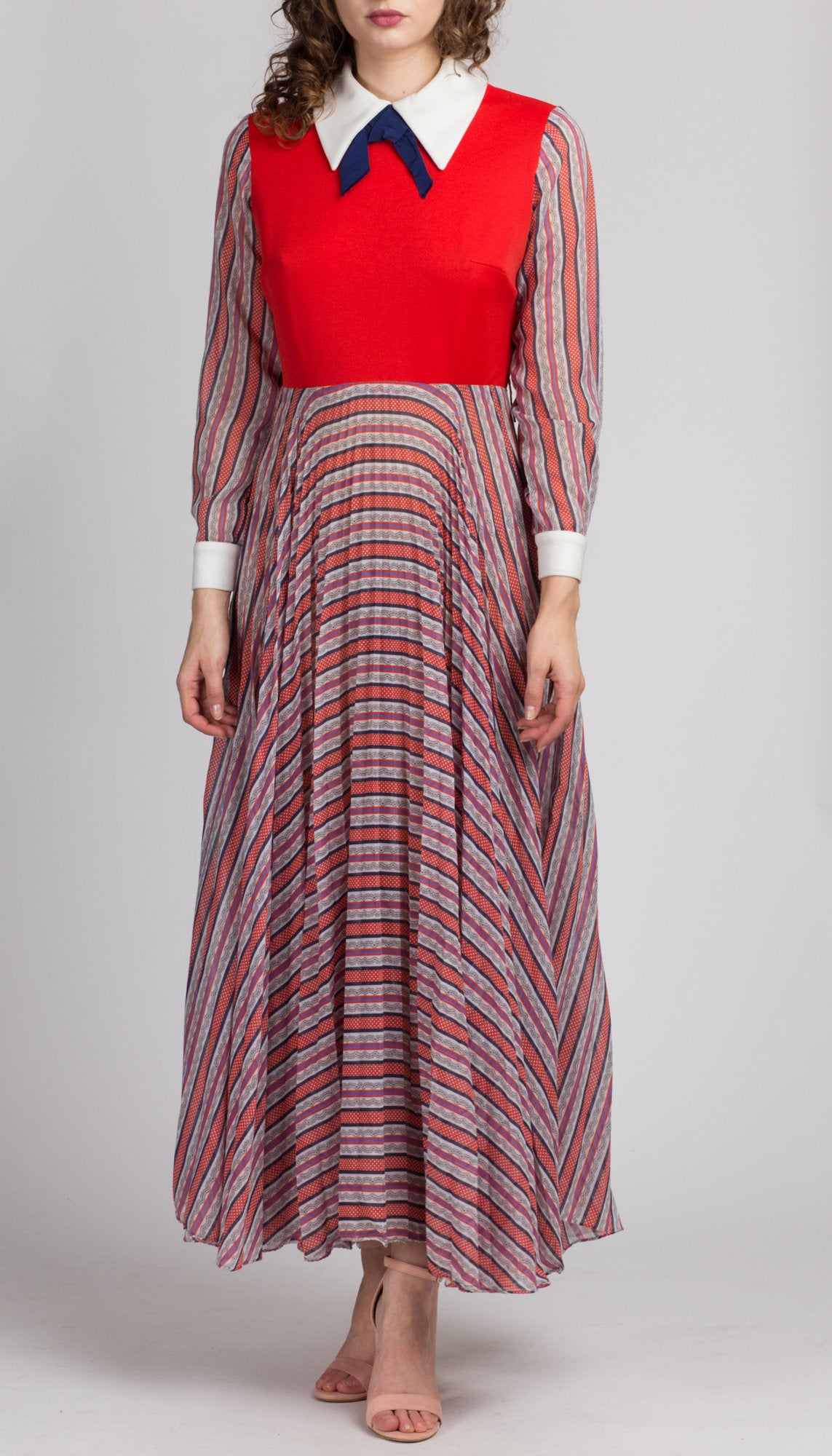 70s Mod Hostess Maxi Dress - Medium
