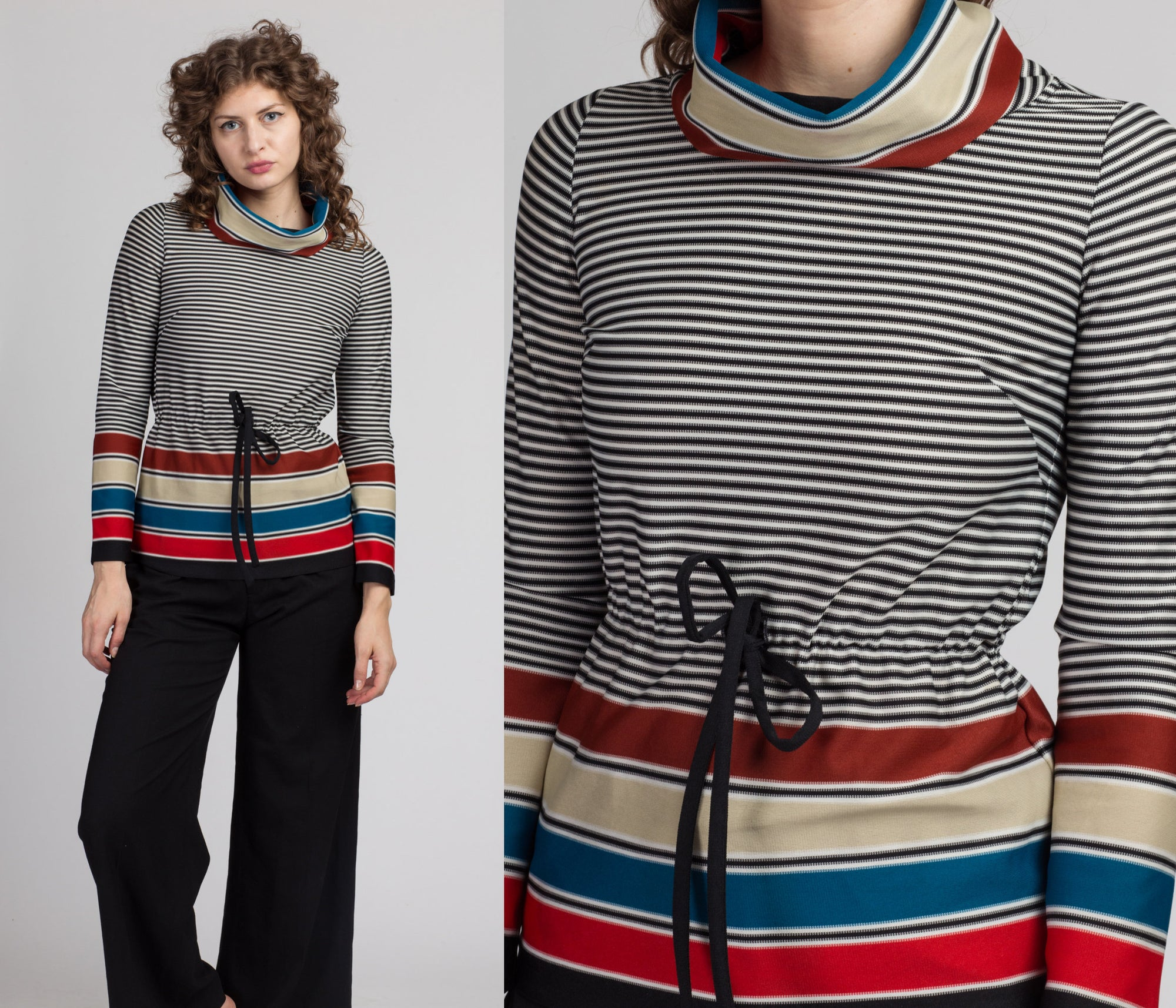 70s Striped Turtleneck Top - Extra Small