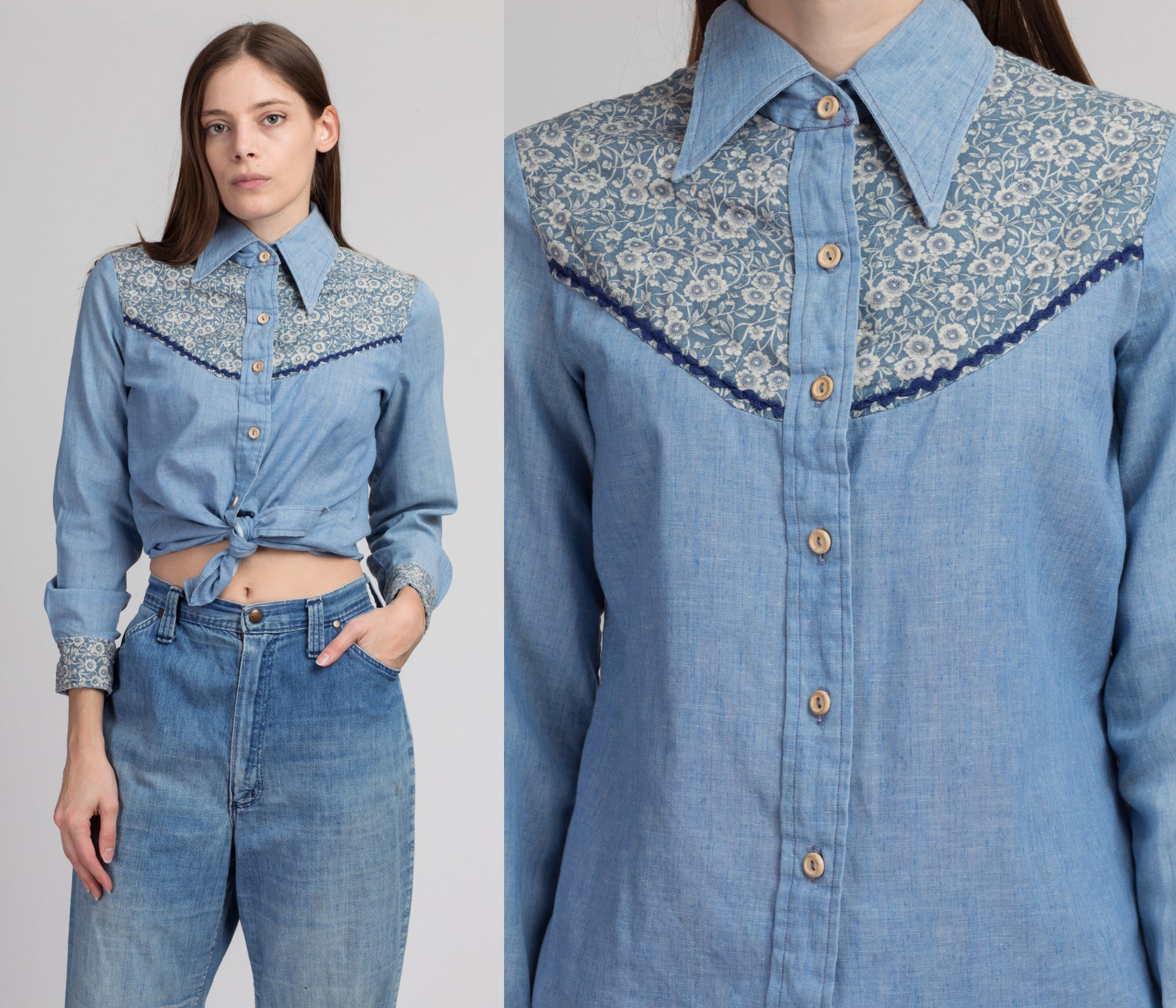 70s Boho Chambray Floral Yoke Western Shirt - Medium