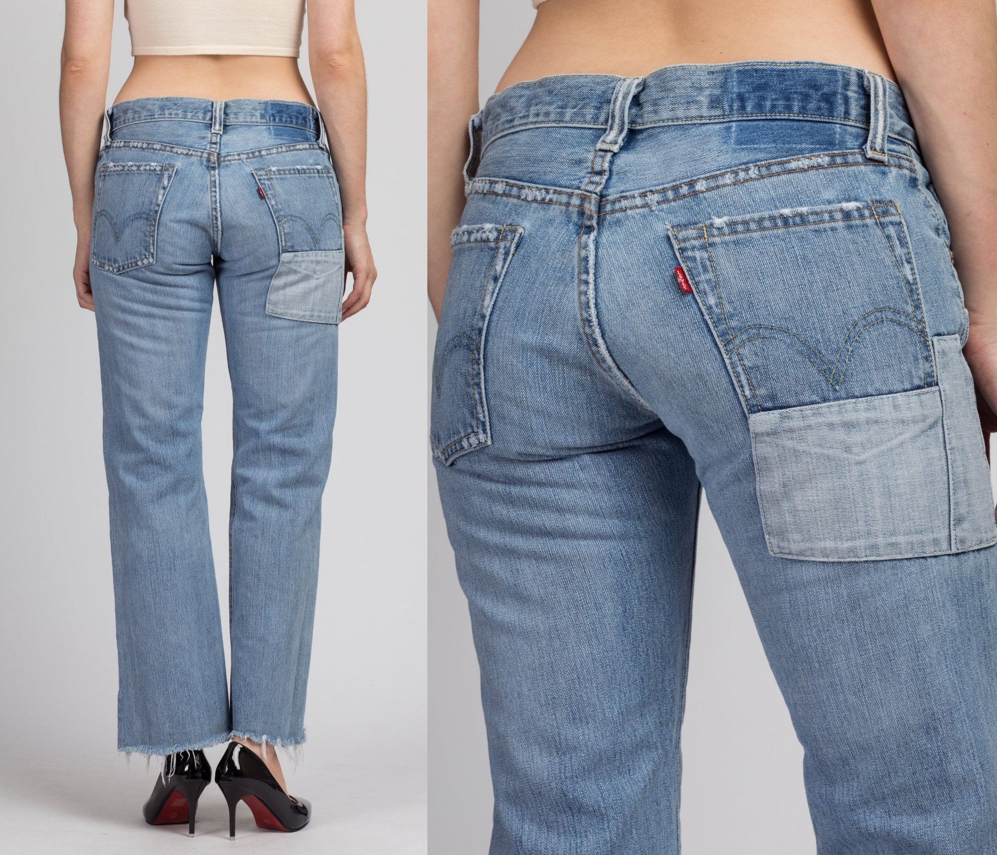 Vintage Levi's Patched Jeans - Extra Small to Petite Small