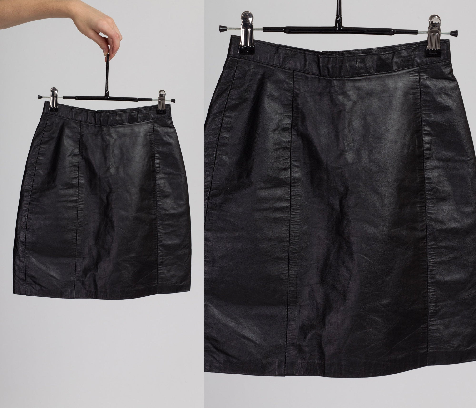 80s Black Leather Mini Skirt - Extra Small