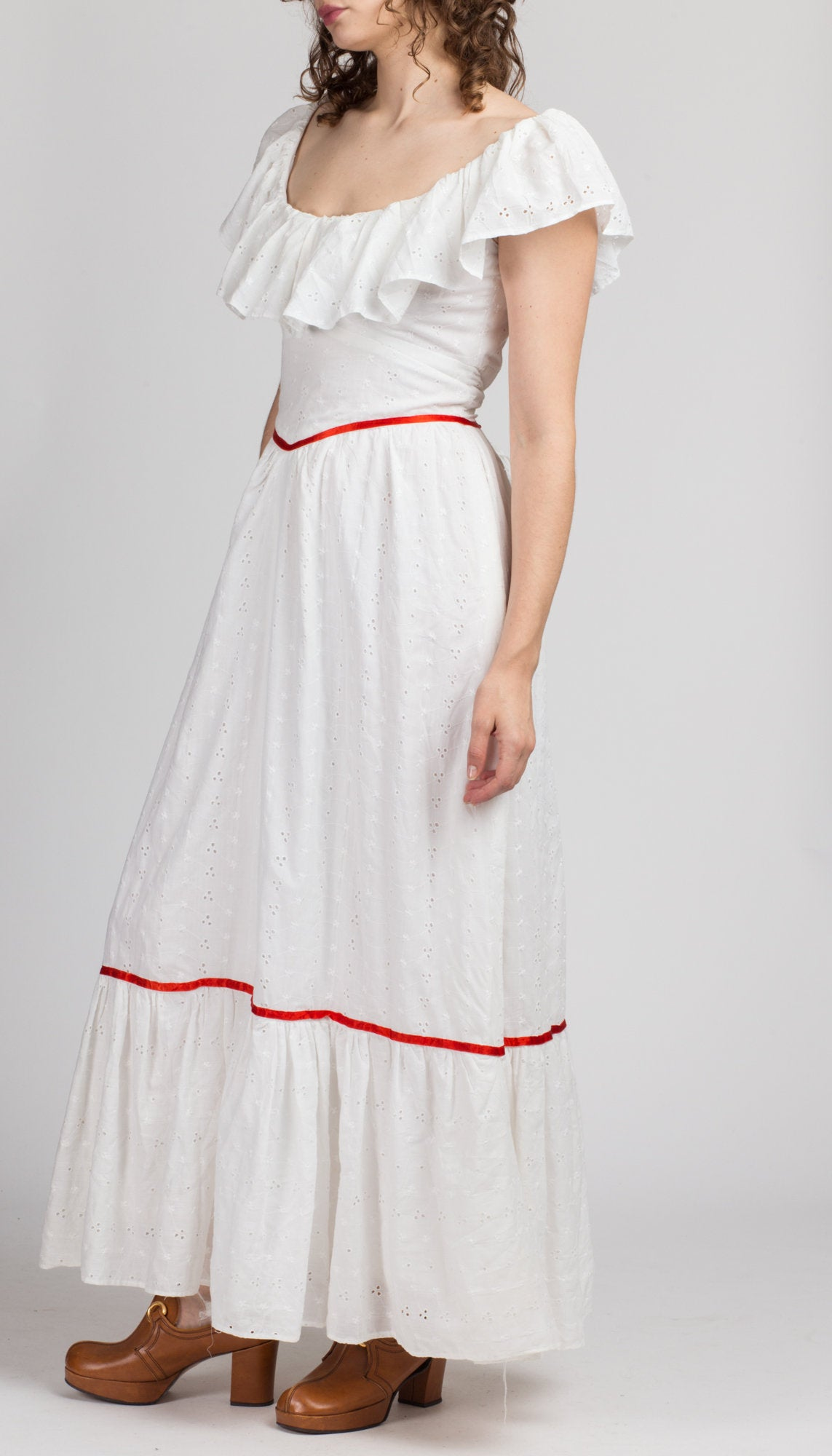70s White Eyelet Prairie Maxi Dress - Medium