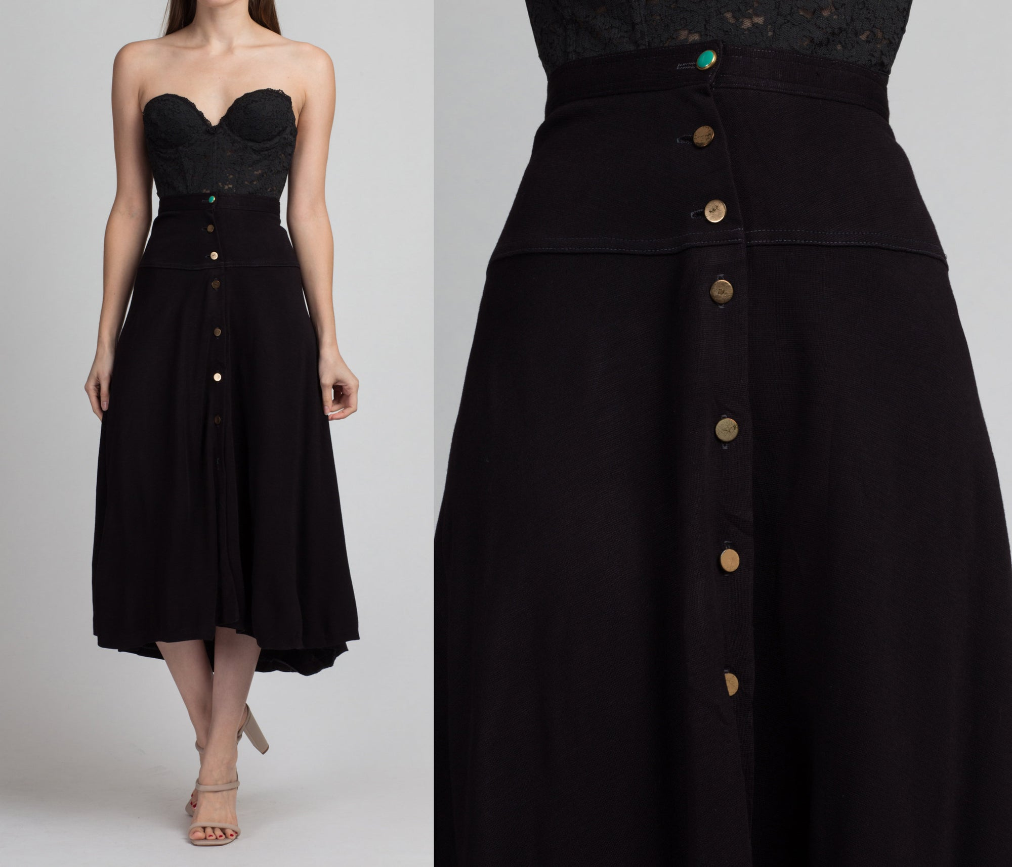 70s Black High-Low Button Front Skirt - Medium | Vintage Wool A Line High Waist Midi Skirt