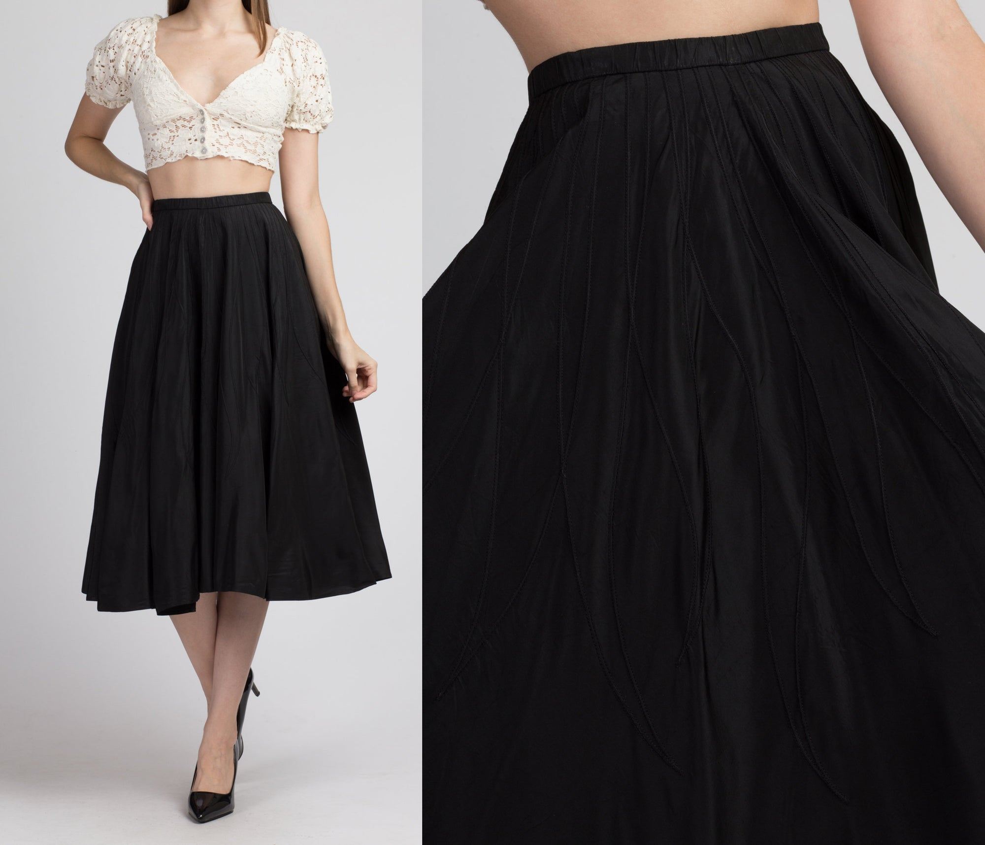1950s Black Flame Stitch Circle Skirt - Extra Small
