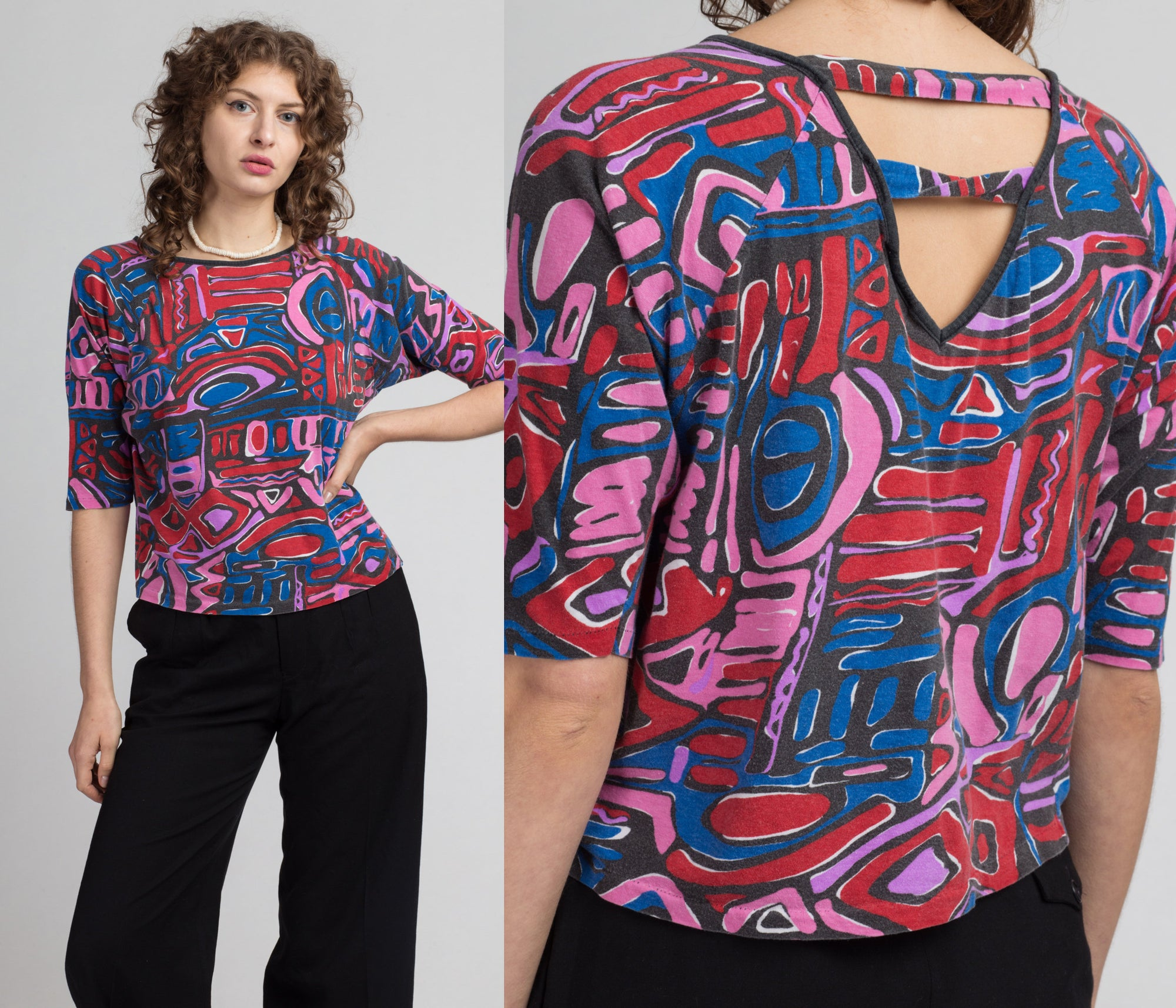 90s Keyhole Back Abstract Crop Top - Medium | Vintage Pink Red Blue Print Batwing Blouse