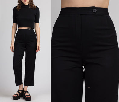 80s Black Evan Picone Cropped Trousers - Small, 26""