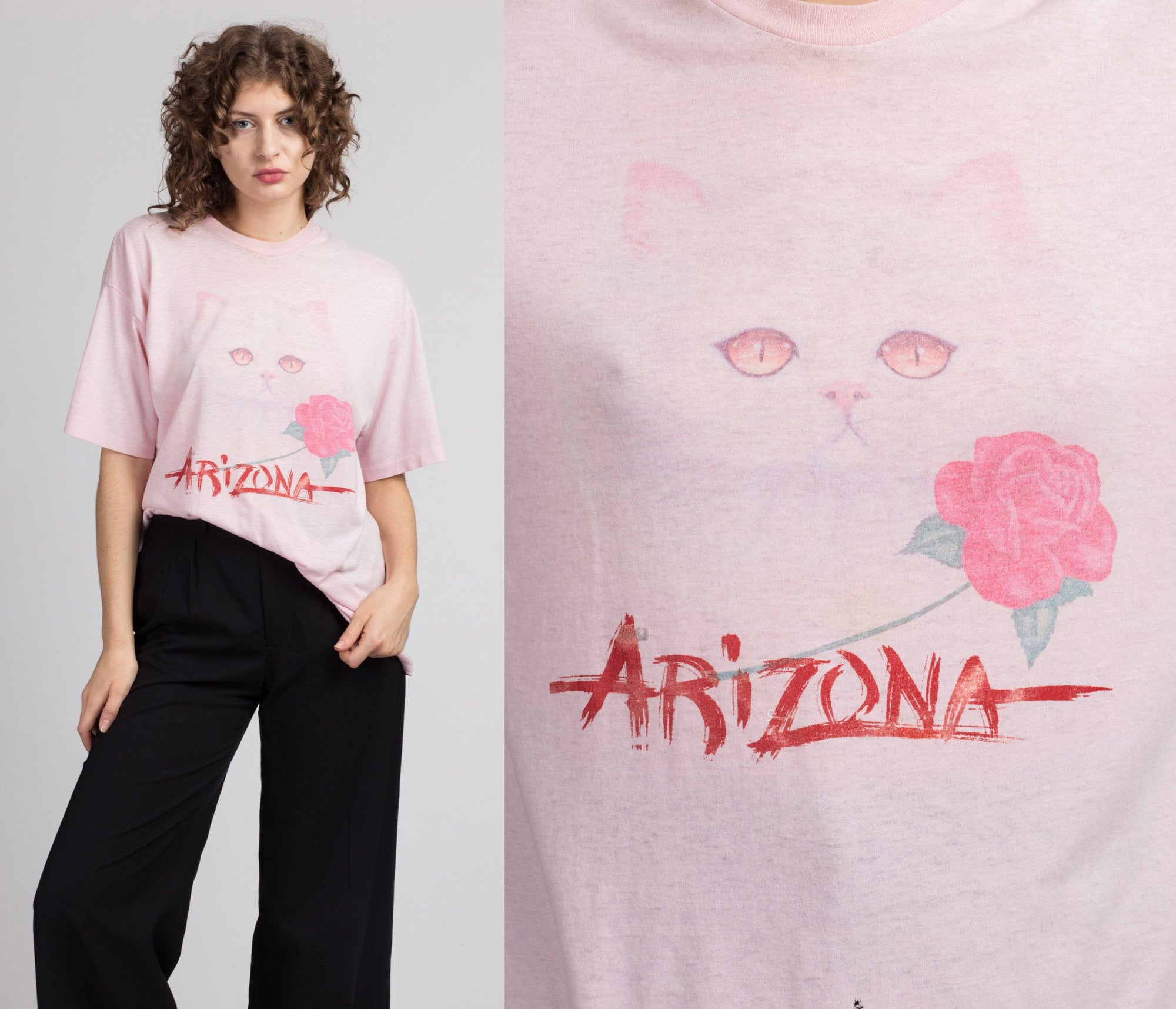 80s Arizona Cat & Rose Tourist Tee - Men's XL