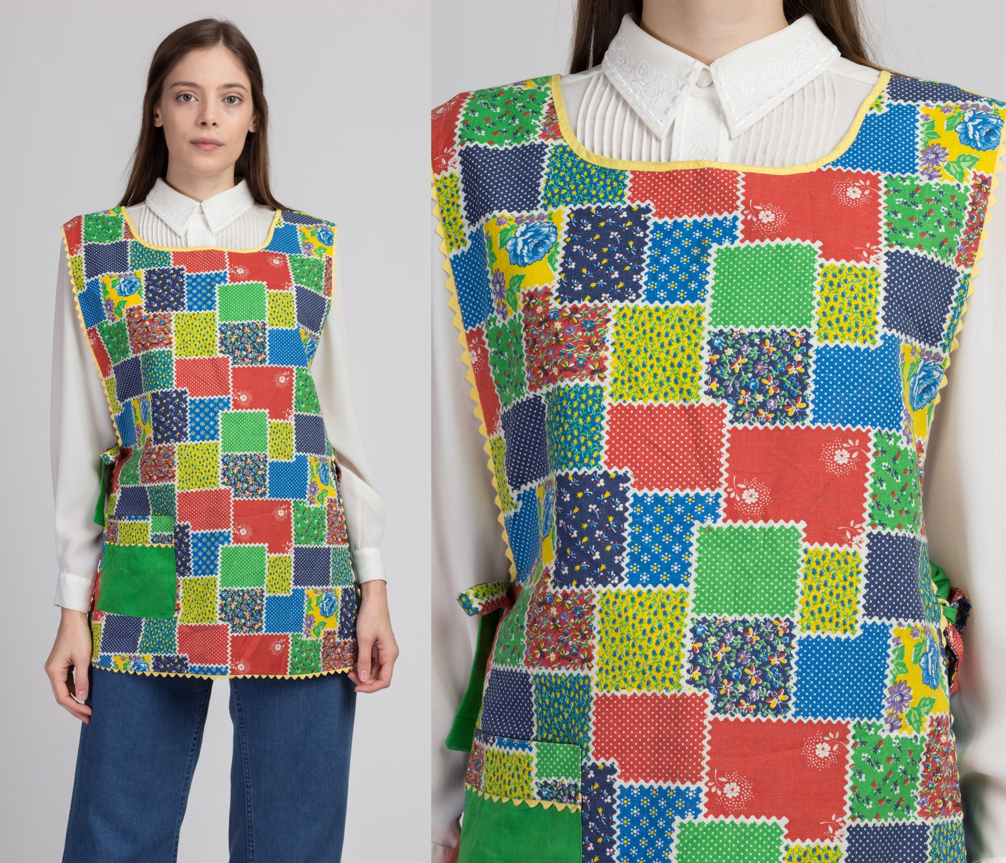 Vintage 60s 70s Reversible Floral Patchwork Smock Apron - One Size