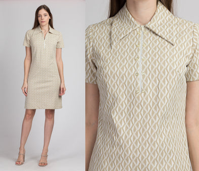 60s 70s Mod Collared Mini Dress - Small to Medium